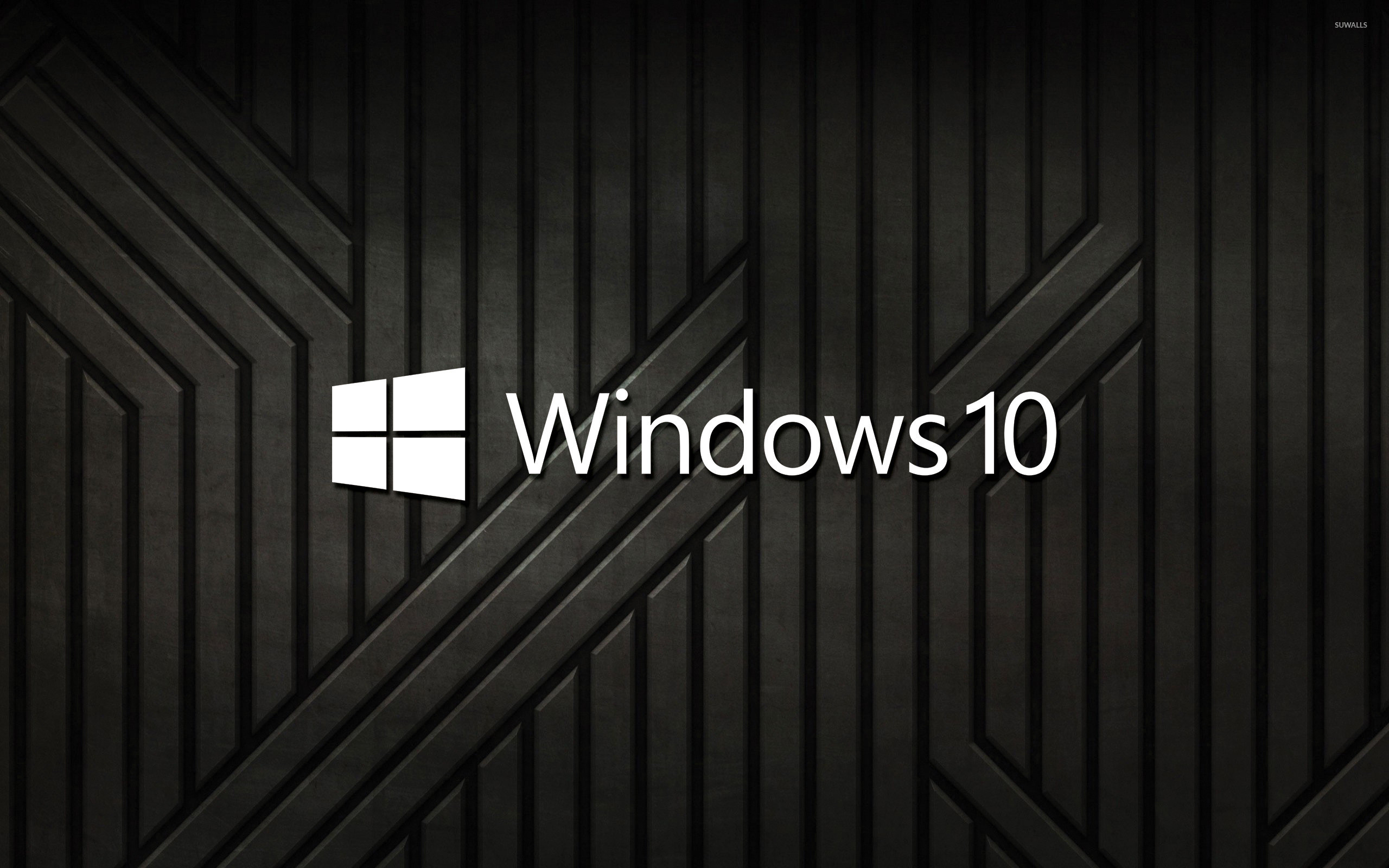 Windows 10 text logo on black metal stripes wallpaper jpg