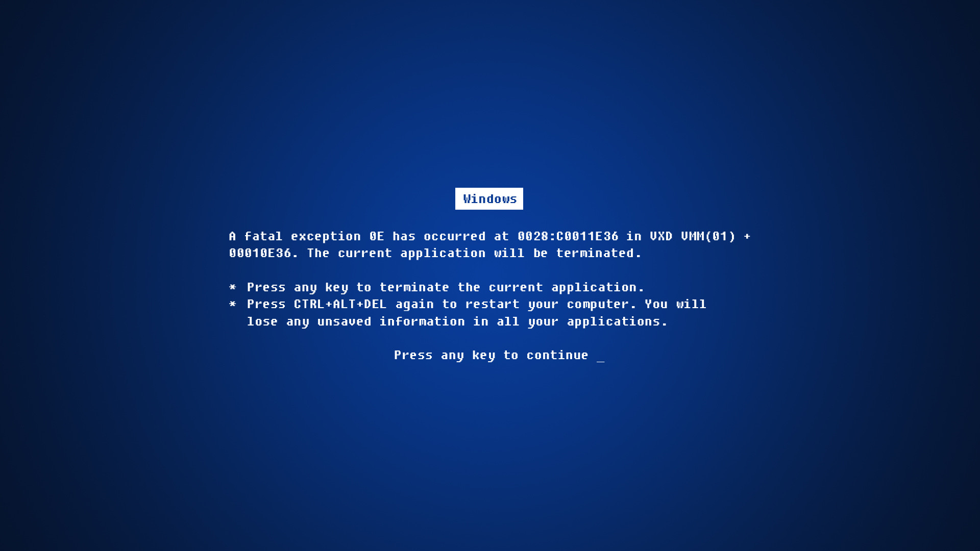 Blue screen of death desktop PC and Mac wallpaper