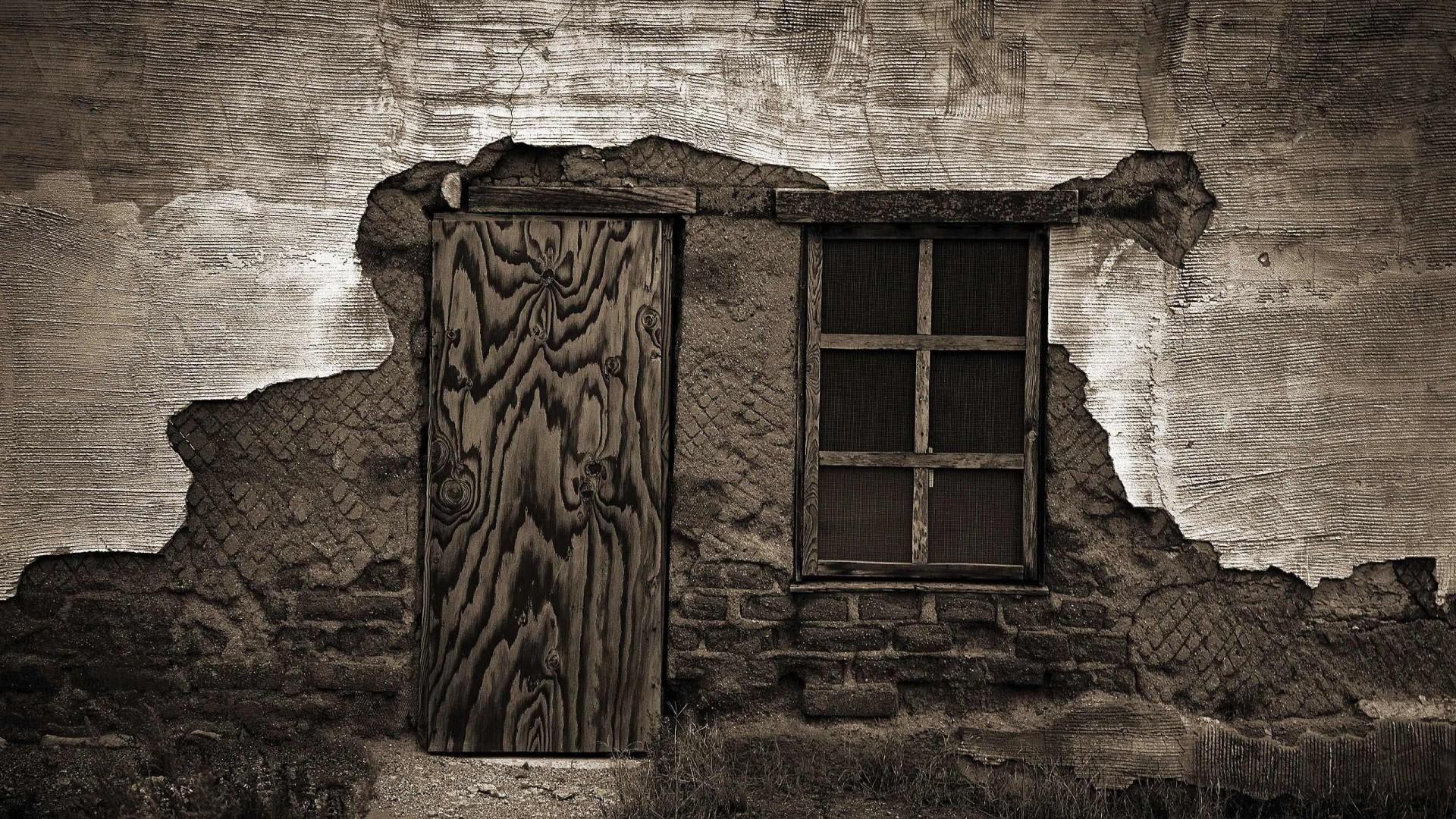 Old Window With Door Wallpaper Wallpaper