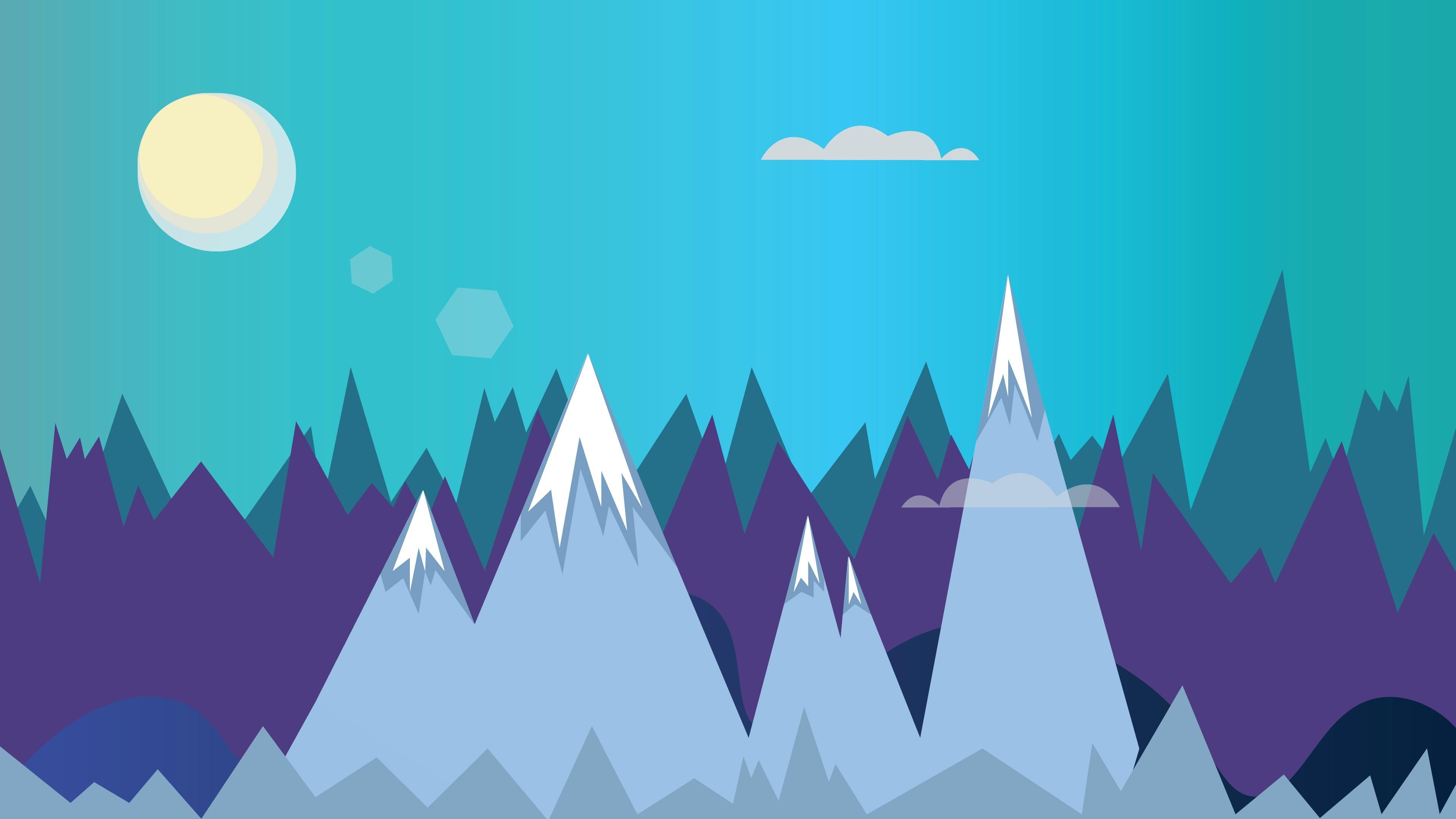 Flat Mountains 4K Wallpaper
