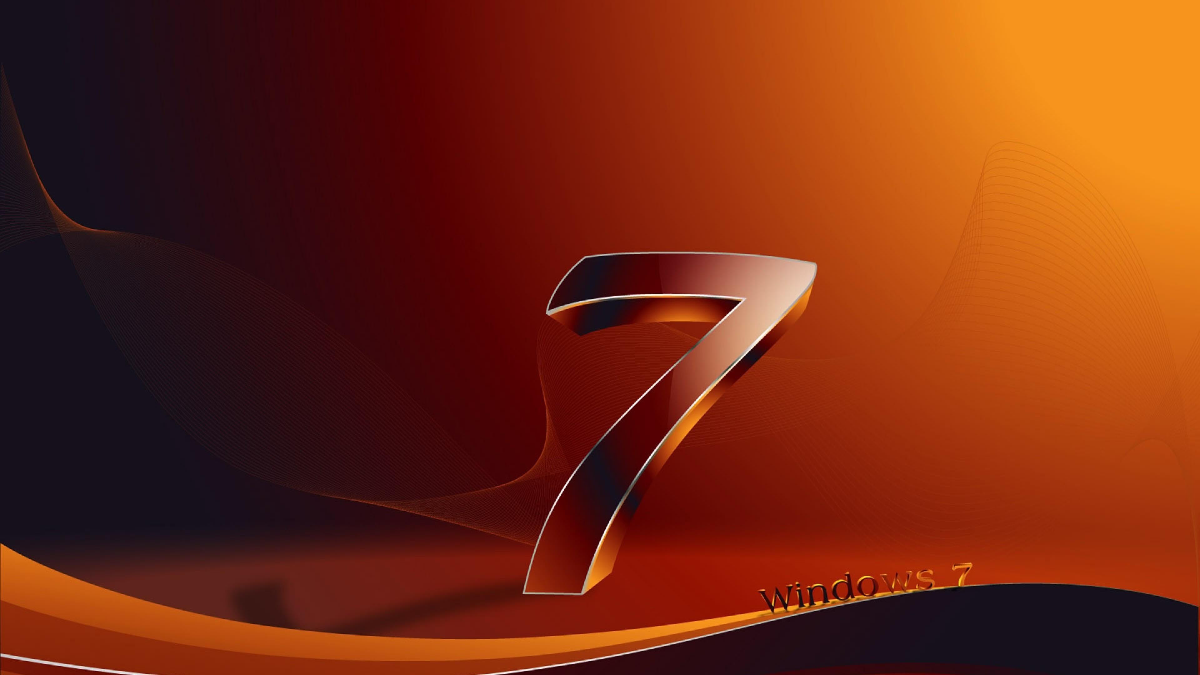 Download Wallpaper Windows 7, Os, Orange, Black 4K Ultra .