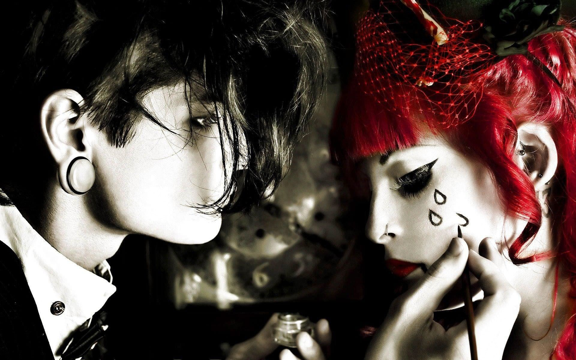 Girl and Boy Emo Love Tears Background