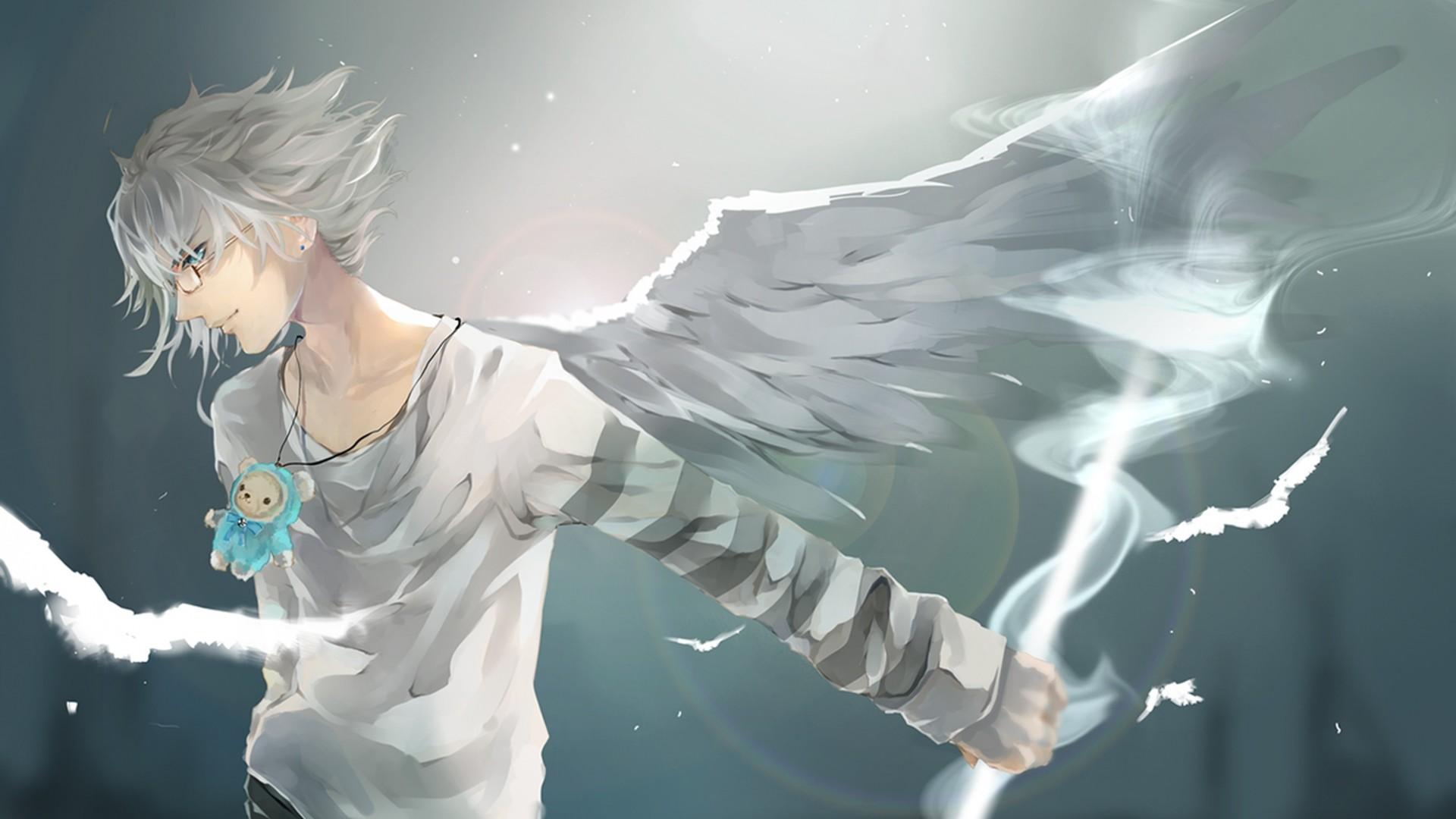 Download Wallpaper Anime, Boy, Wings, Art Full HD 1080p HD  Background