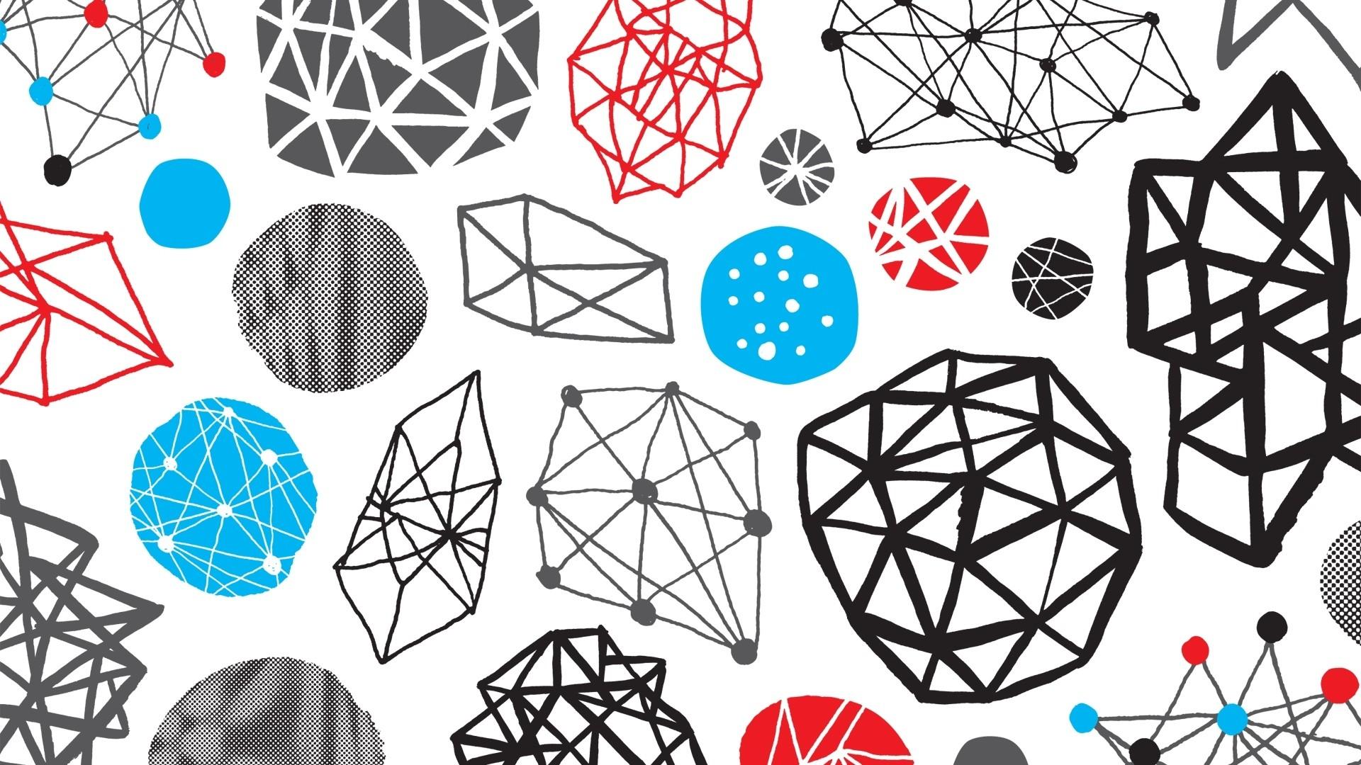 Wallpaper blue, black, red, white, shape, pattern