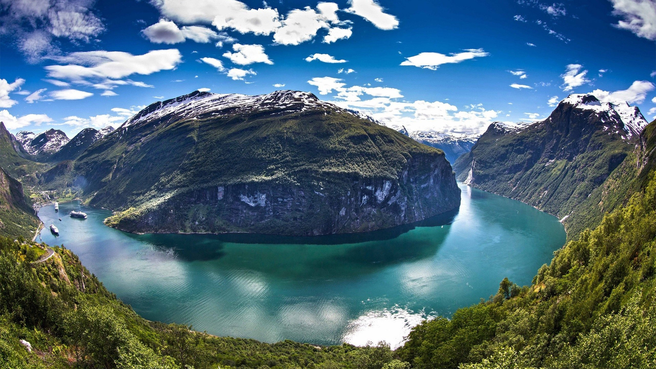 Geirangerfjord's Fjord In The Sunnmore Region Of The Romsdal Norway  District Desktop Wallpaper Hd : Wallpapers13.com