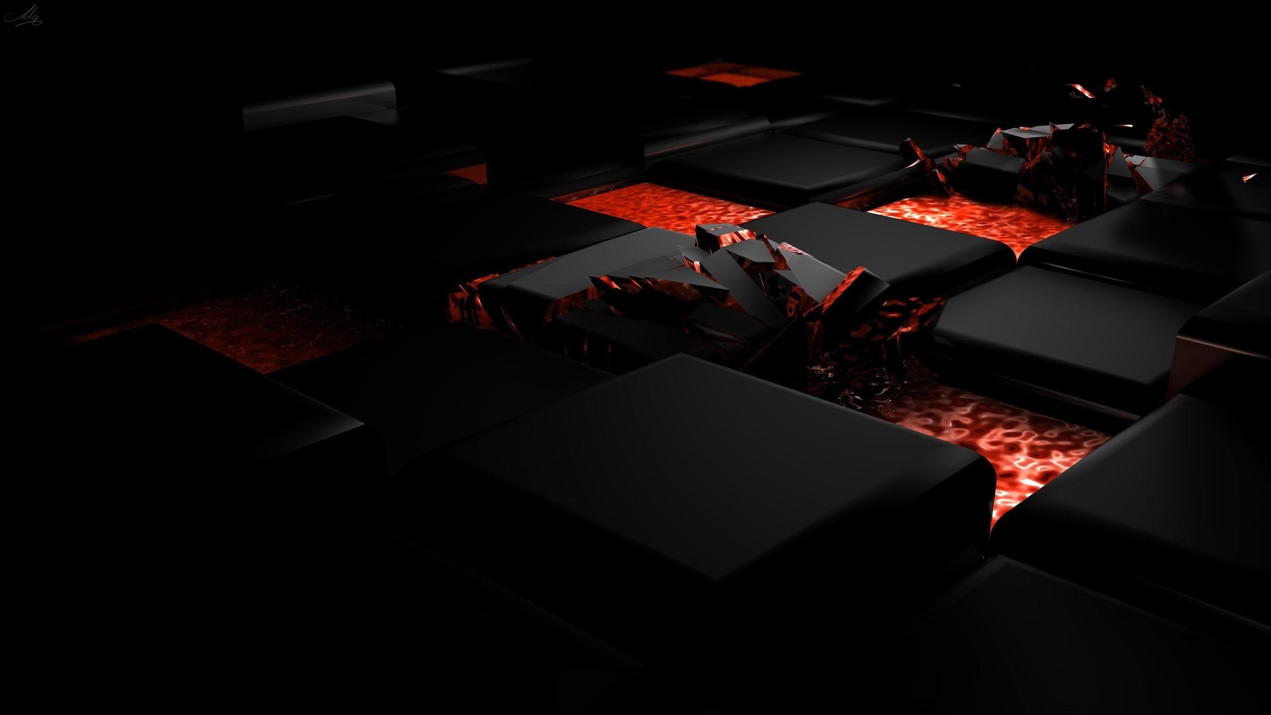 Preview wallpaper cube, fire, dark, light, alloy 2560×1440