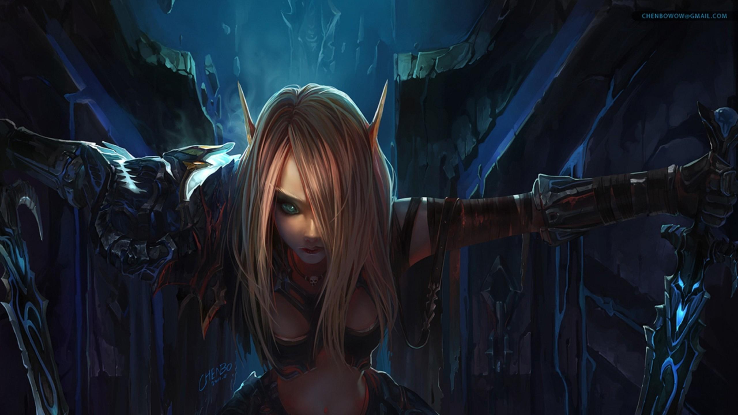 Preview wallpaper world of warcraft, elf, girl, hair, eye 2560×1440
