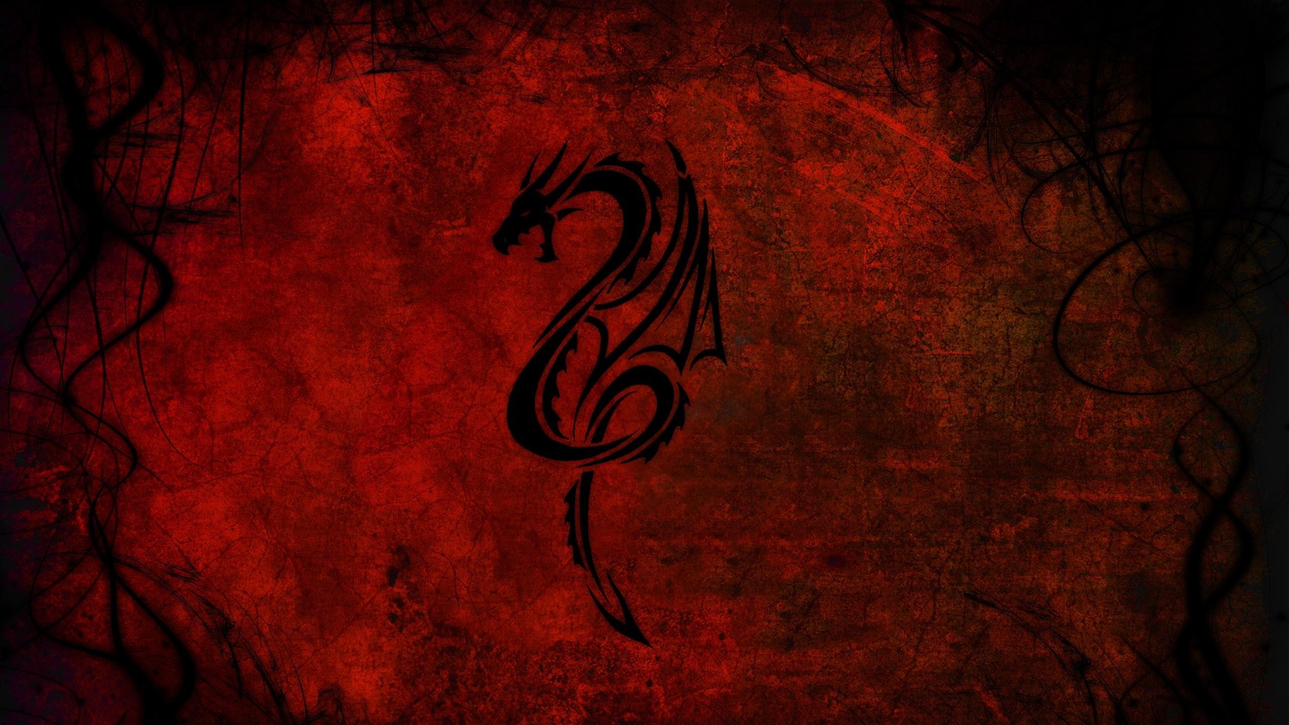 Preview wallpaper dragon, pattern, red, black 2560×1440