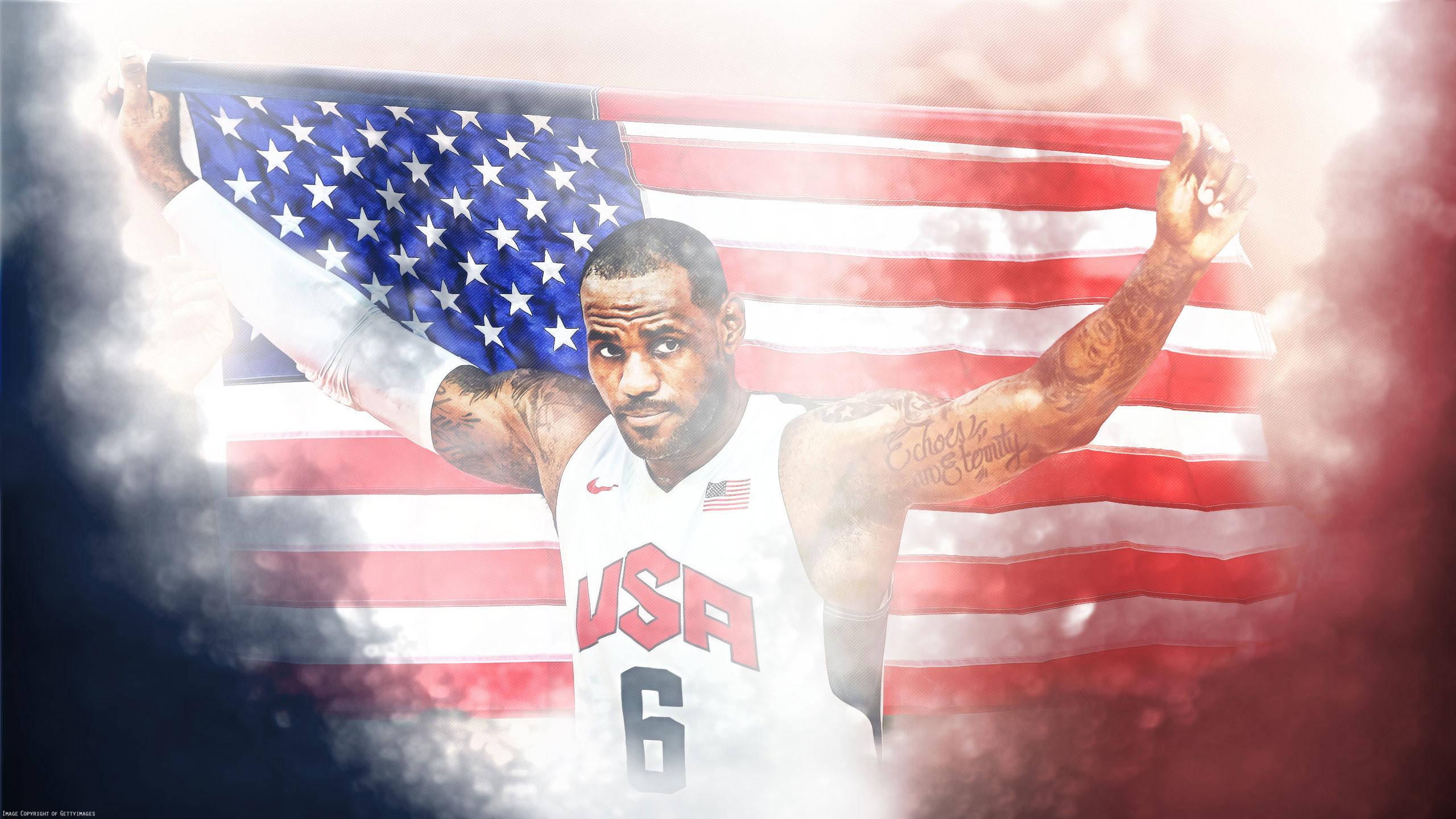 LeBron James NBA Wallpaper American Flag 2012 London Olympics | Official  Website of BBallOne.com
