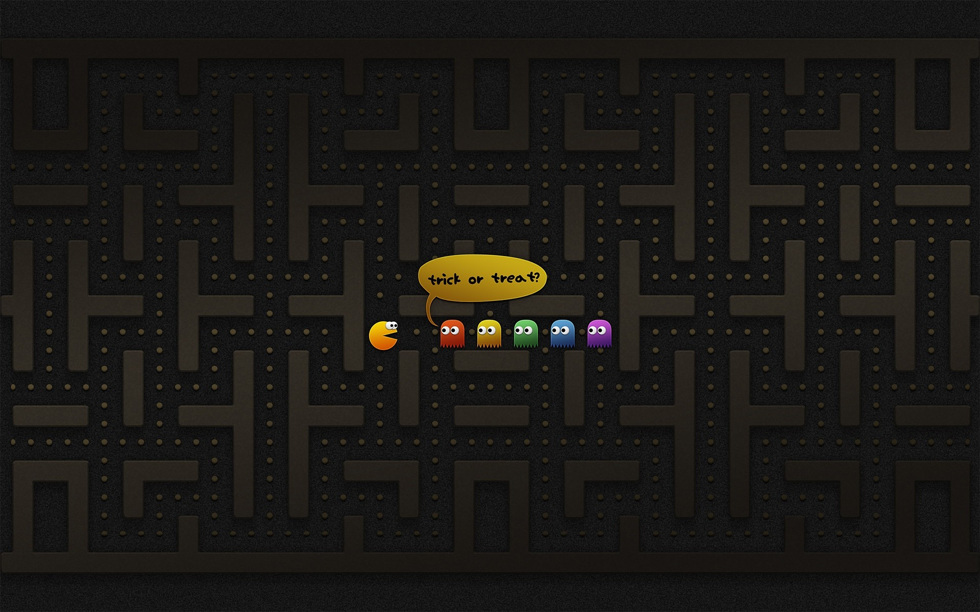 A List of the Best Halloween Wallpapers for Your Computer: Trick or Treat?  Pac-Man Edition by Vladstudio