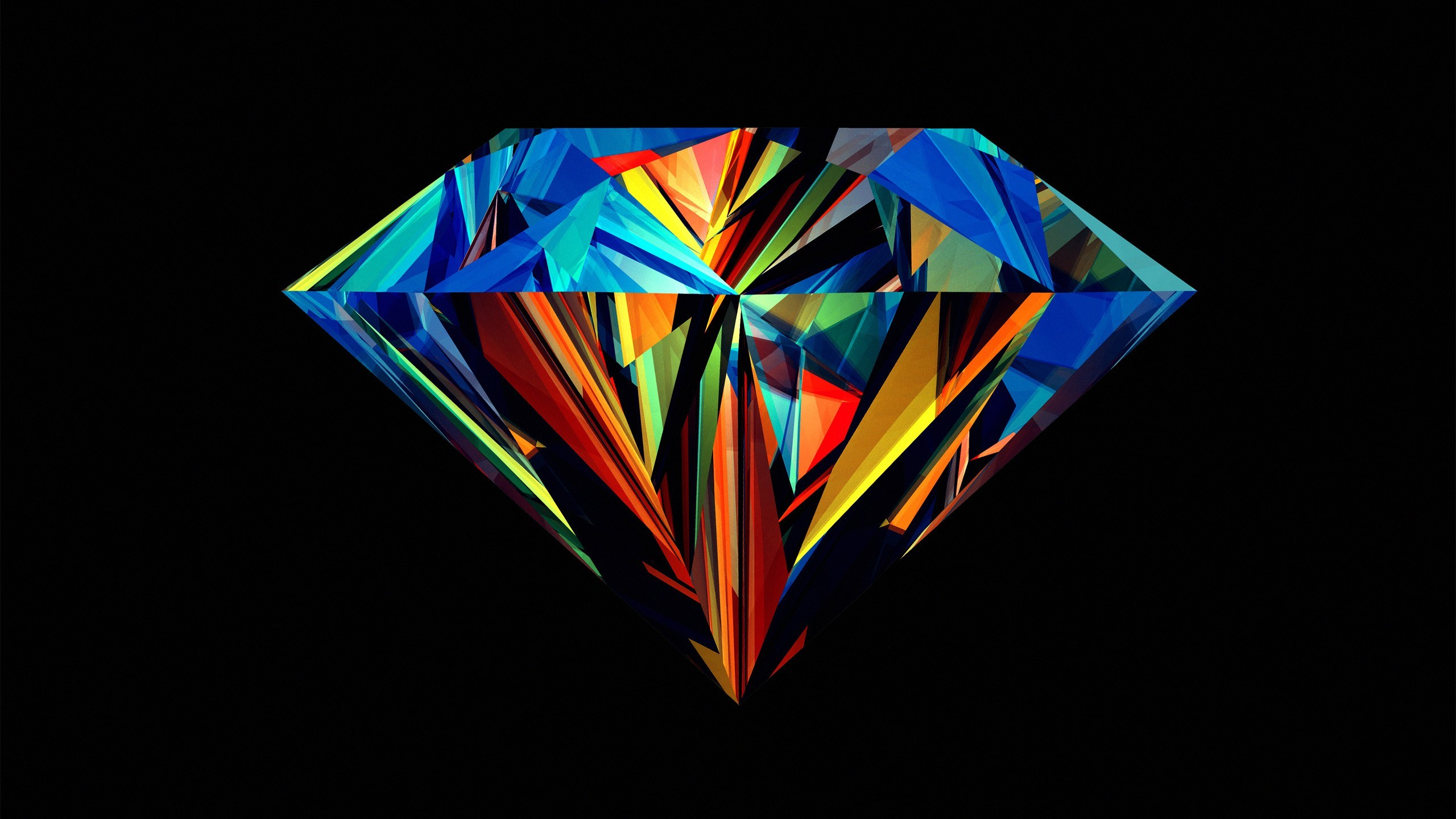 Abstract Black Background Dark Diamond Geometry Justin Maller Multicolor  Shapes …