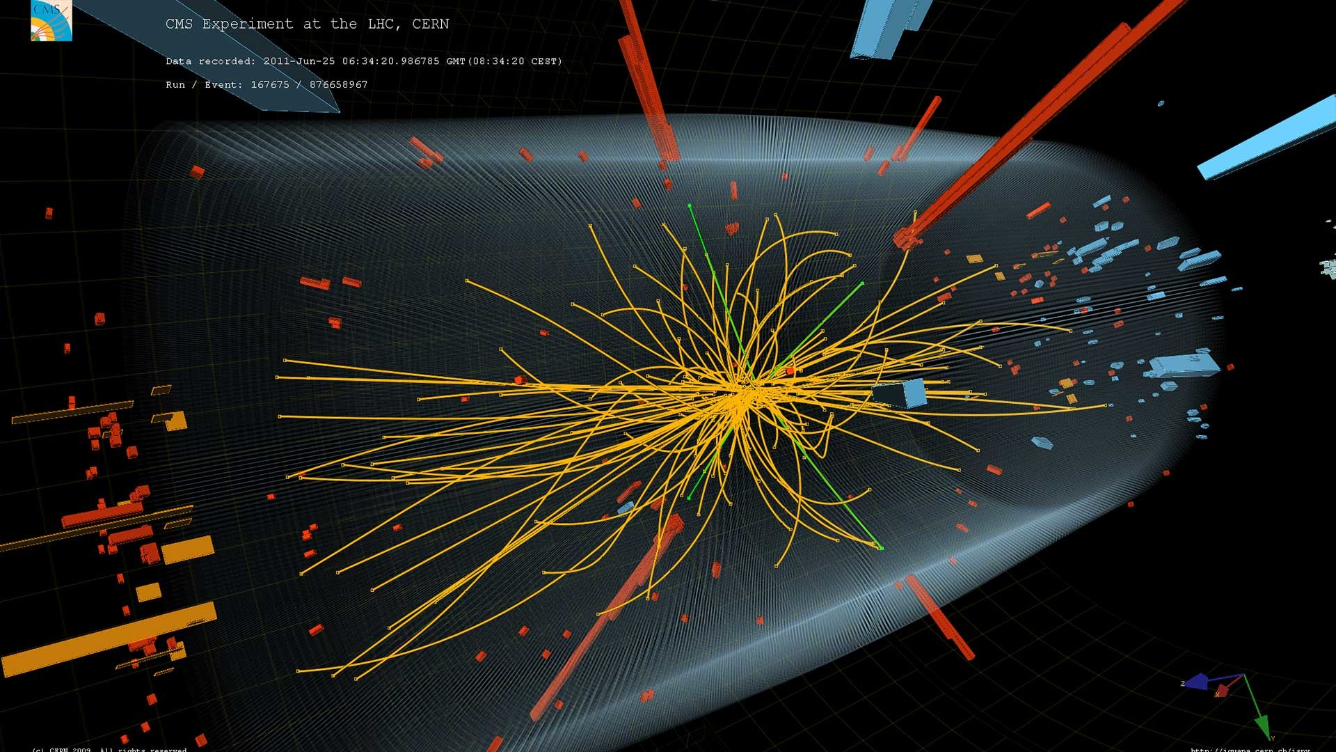 Particles fly in all directions at varying levels of energy. This collision  is consistent with the Standard Model and also showed signs of the …