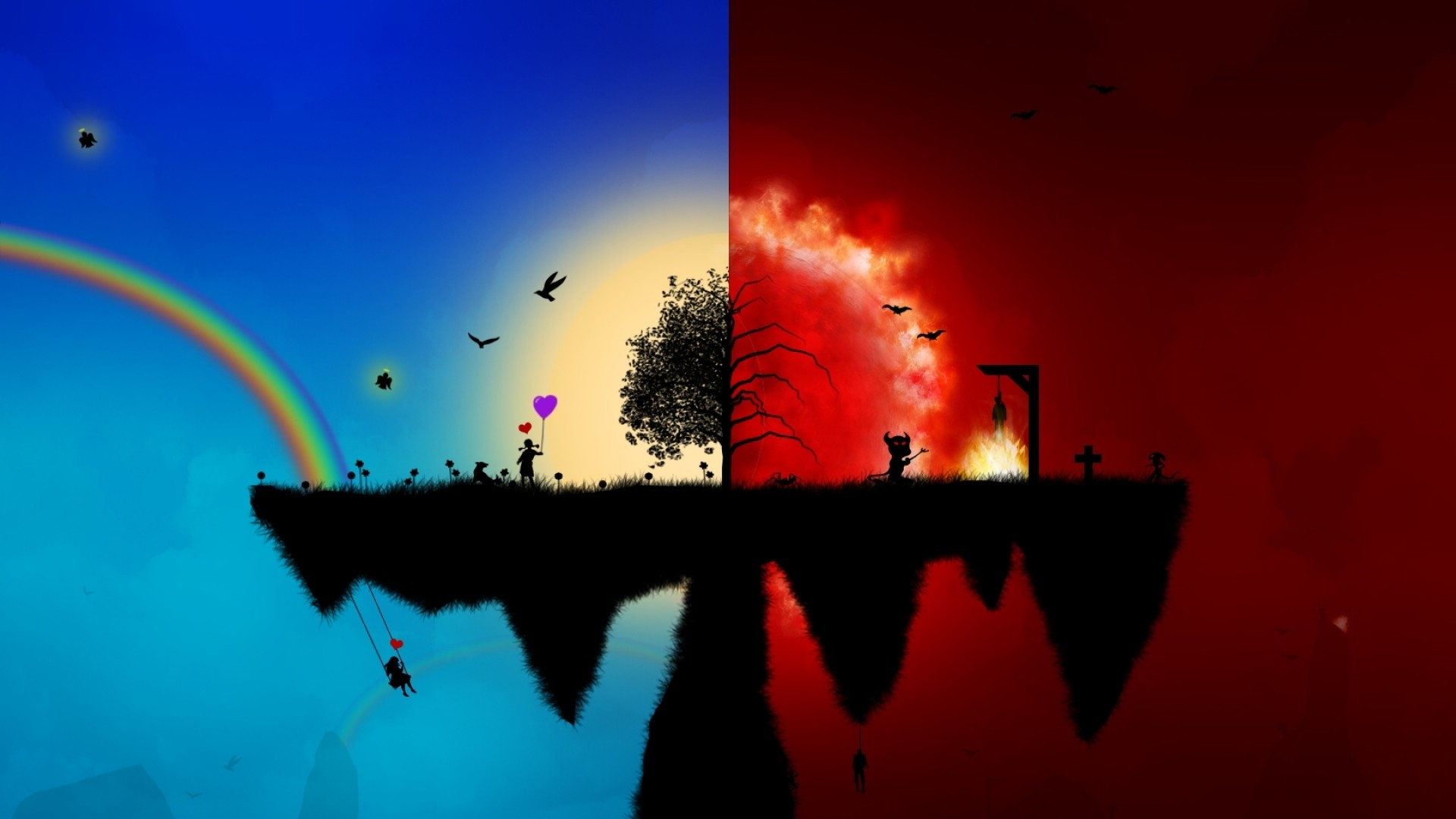 Preview wallpaper peace, red, blue, wood, split 1920×1080