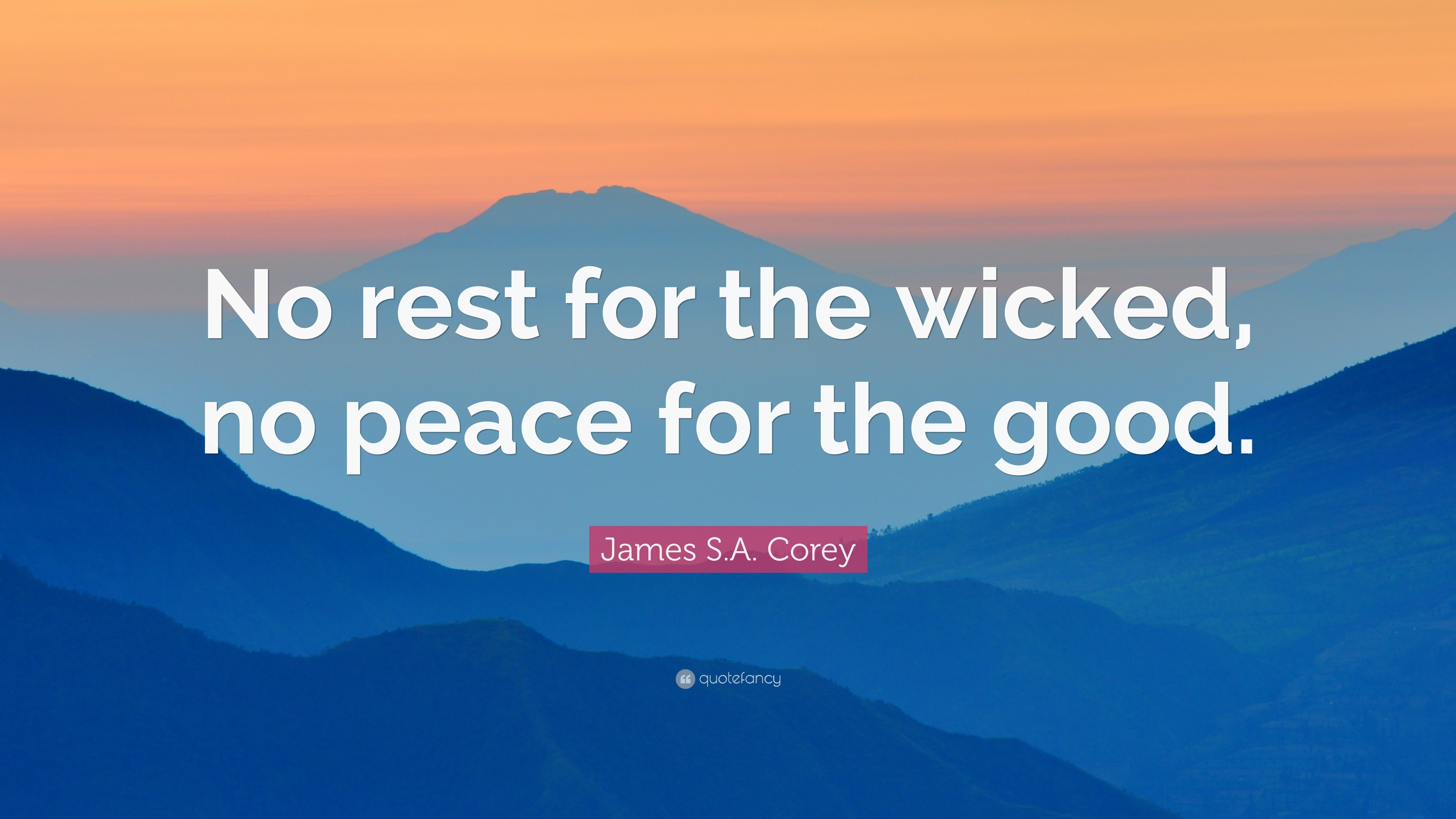 """James S.A. Corey Quote: """"No rest for the wicked, no peace for the"""