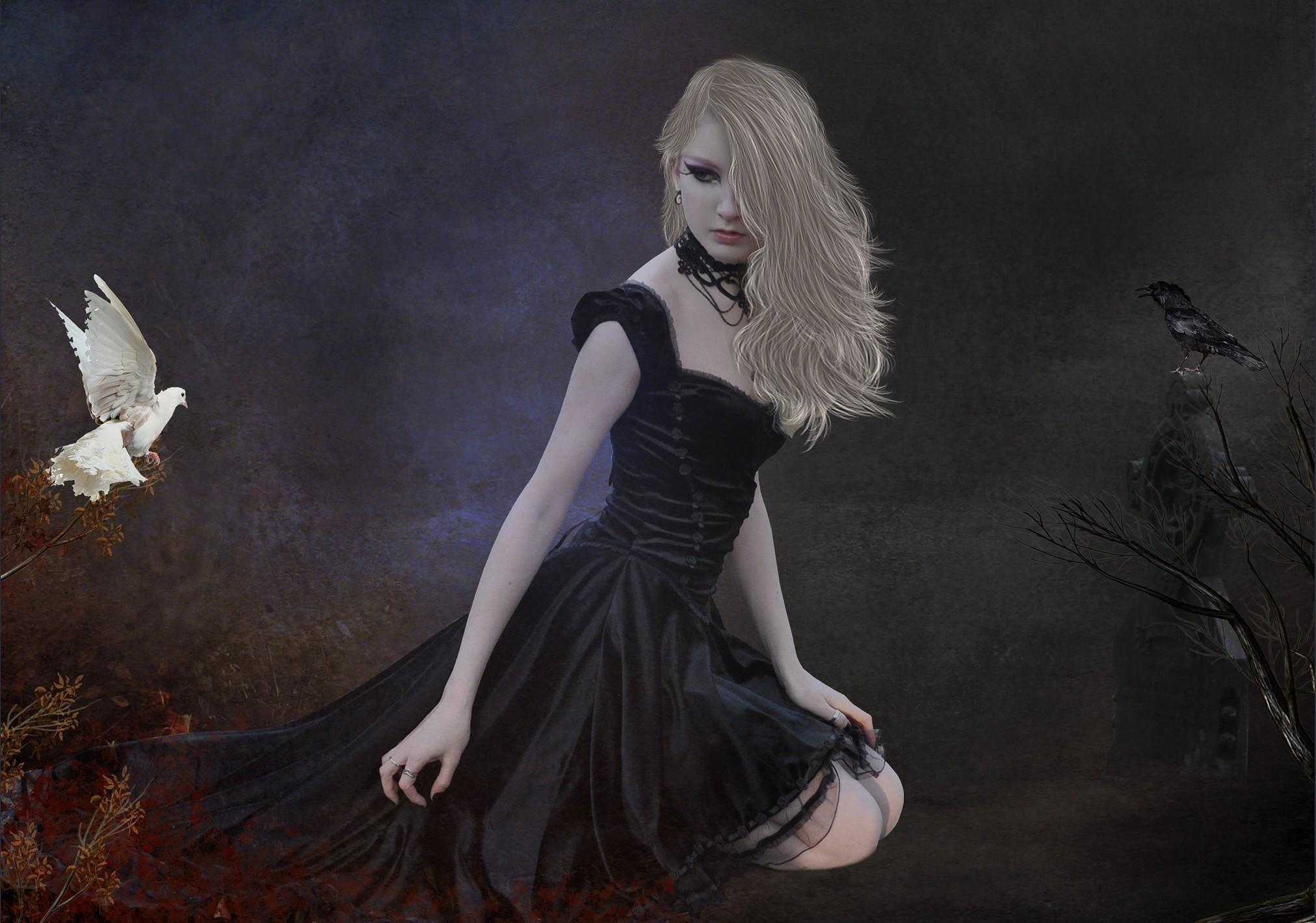 Goth Girl With Bird wallpaper thumb