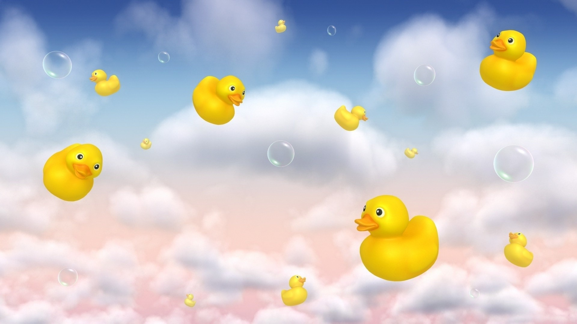Floating rubber ducks and bubbles HD Wallpaper 1920×1080