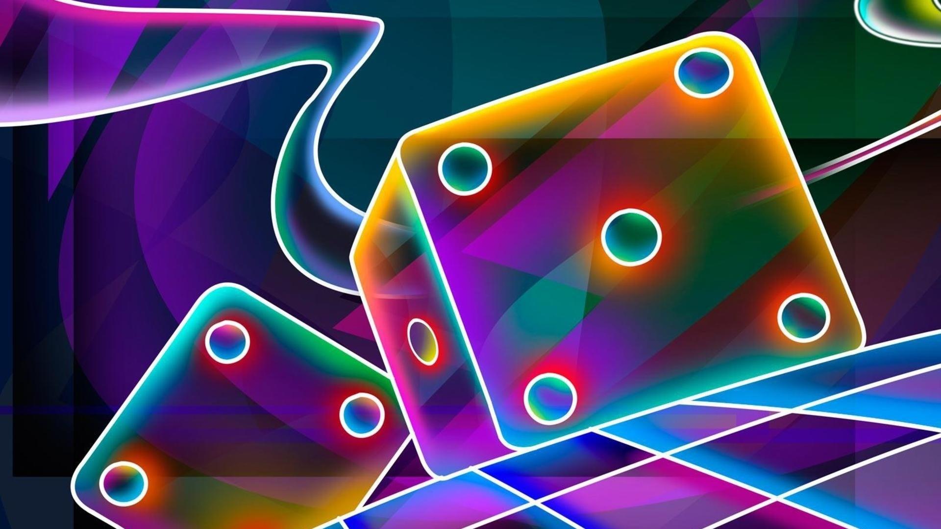 Preview wallpaper 3d, cube, dice, neon 1920×1080