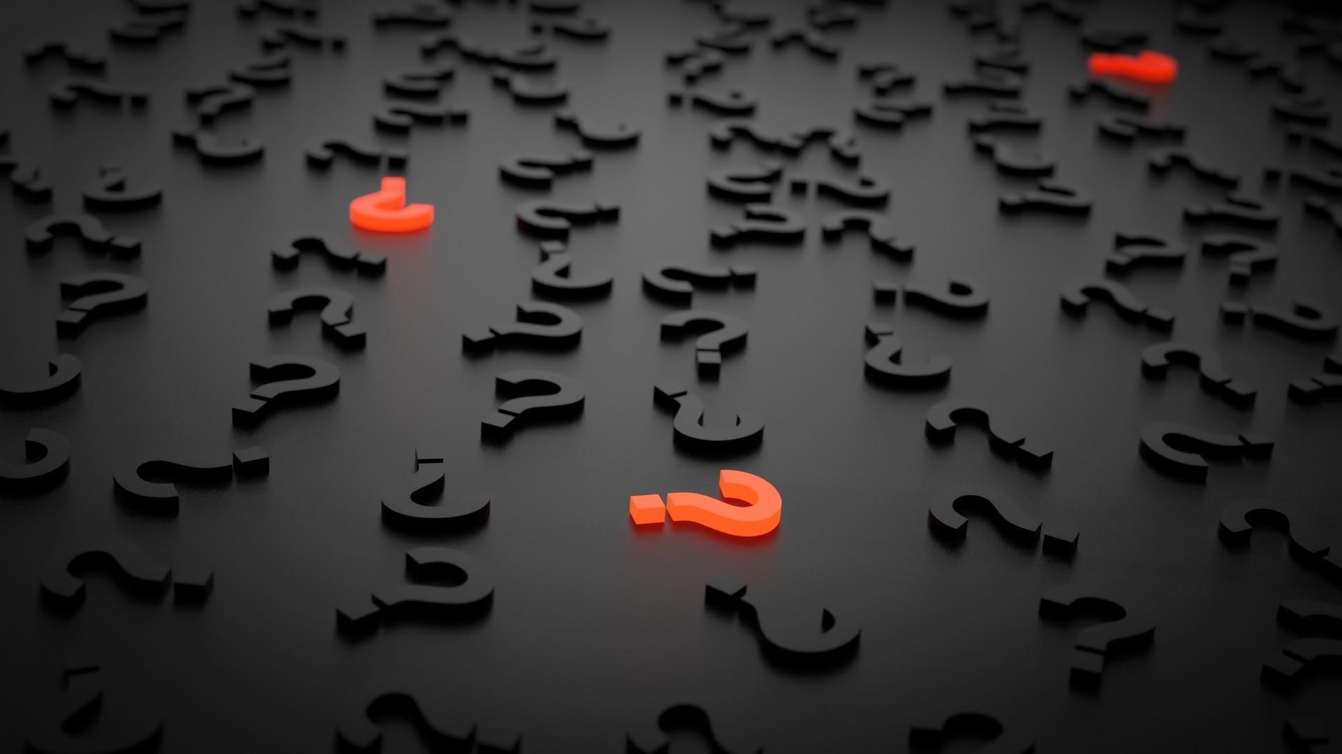 Wallpaper question marks, figures, 3d