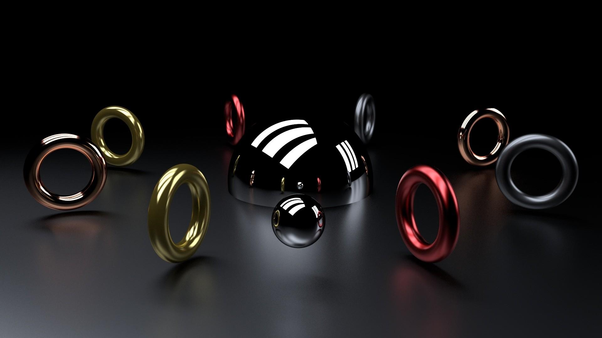 Wallpaper ball, ring, shape, 3d