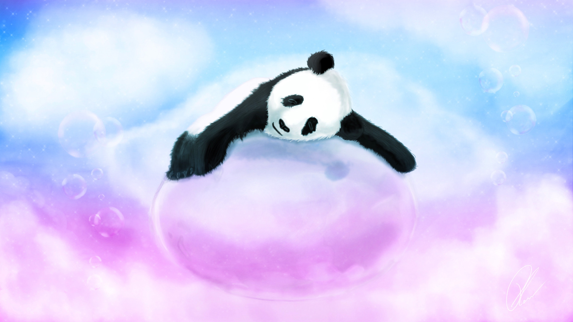 Panda bear, bubble, lying, bubbles, pink, blue, sleeping wallpapers .