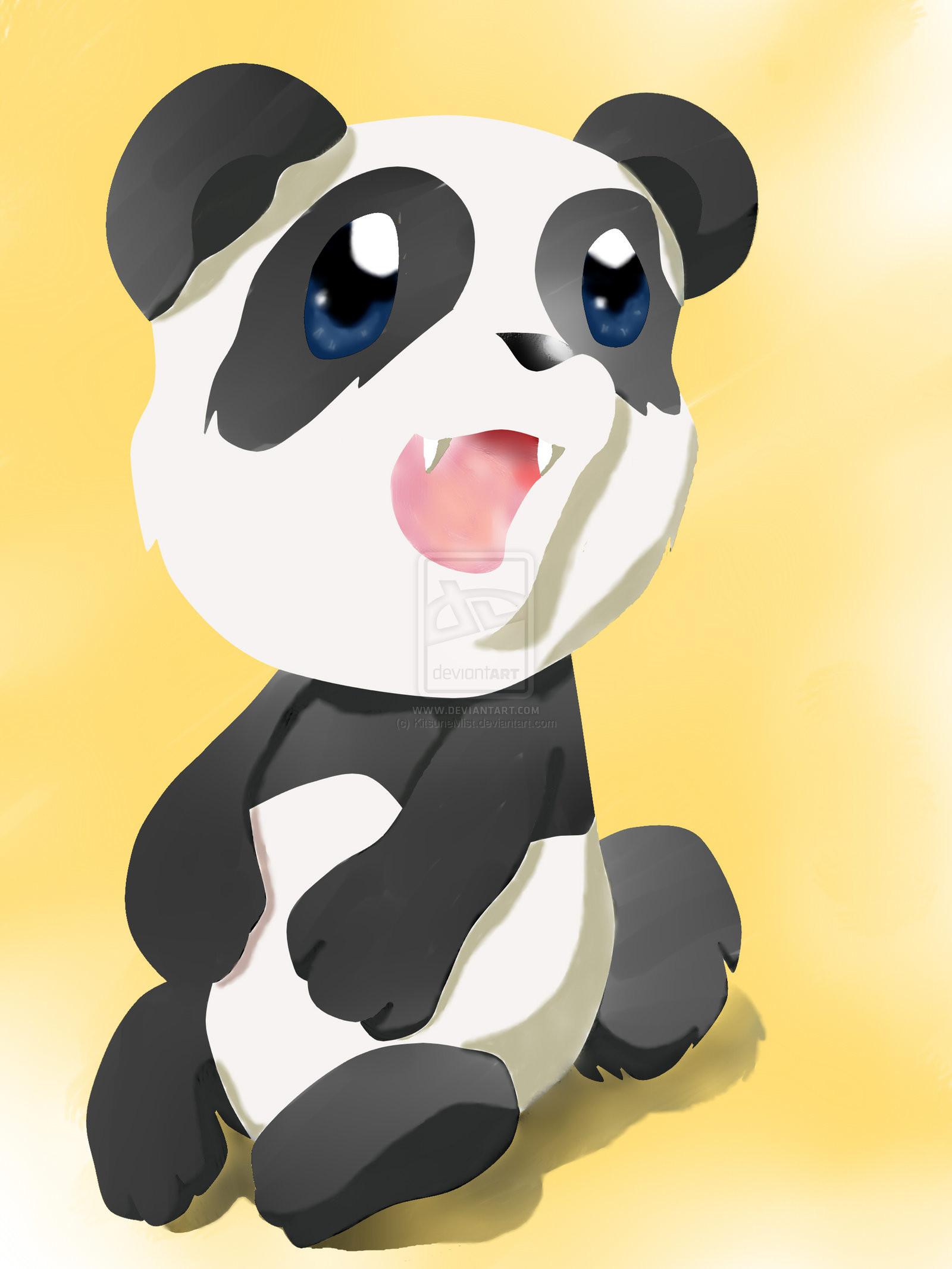 Chibi Panda Wallpaper Chibi panda by kitsunemist