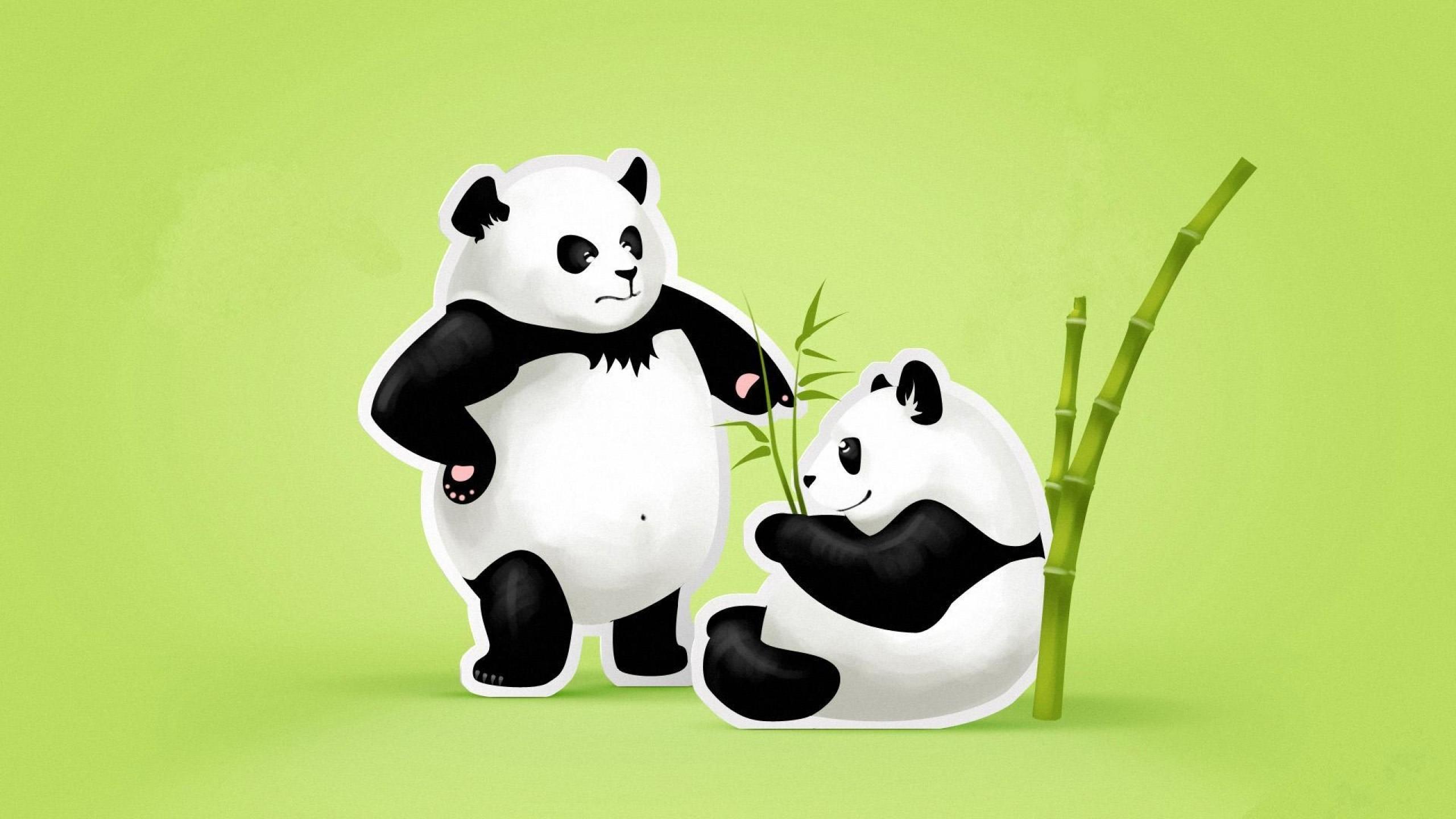 Wallpaper panda, couple, threat, quarrel, green, black, white