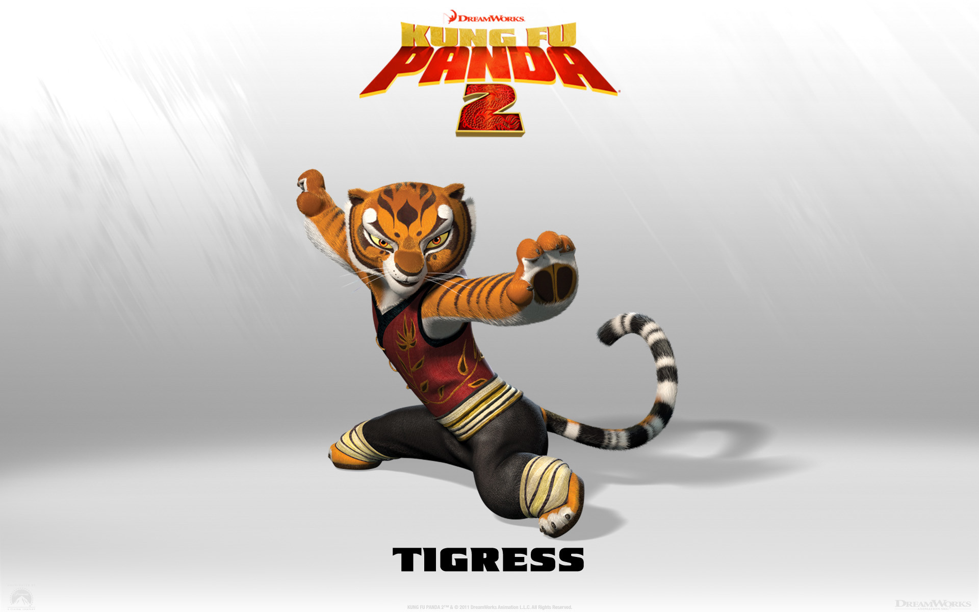 Tigress from Kung Fu Panda 2 Dreamworks CG animated movie wallpaper