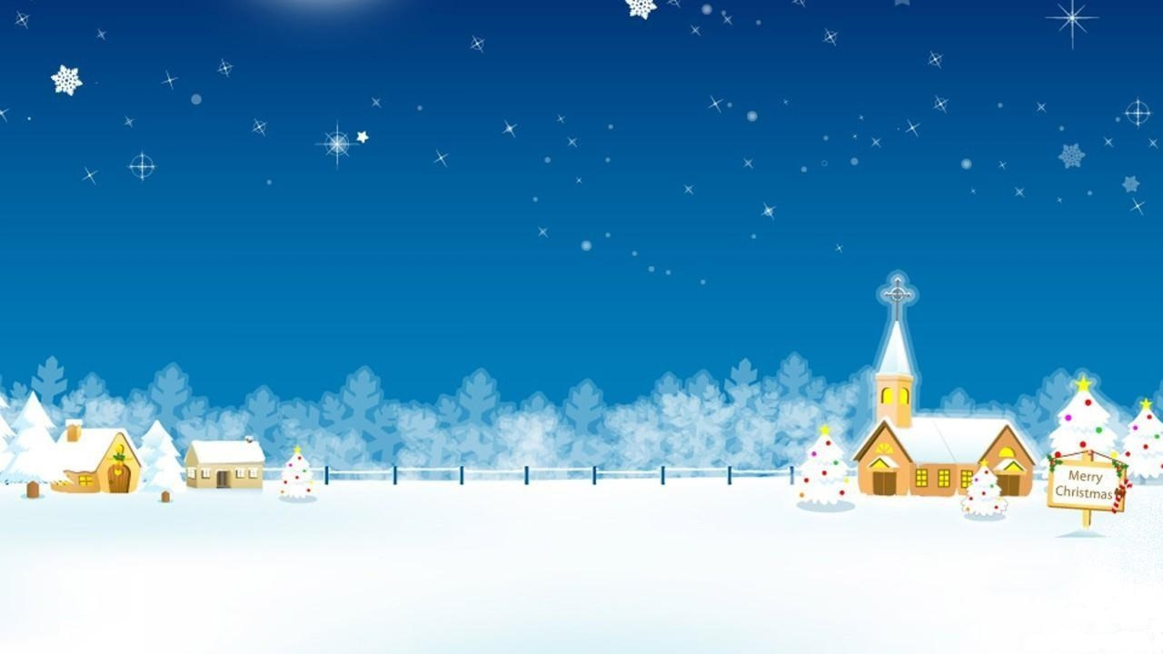 Preview wallpaper christmas, holiday, home, church, moon, stars, trees  3840×2160