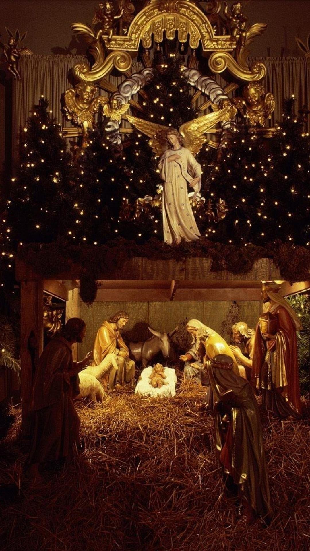 Wallpaper christmas, jesus, nurseries, christmas trees, garland,  holiday, people