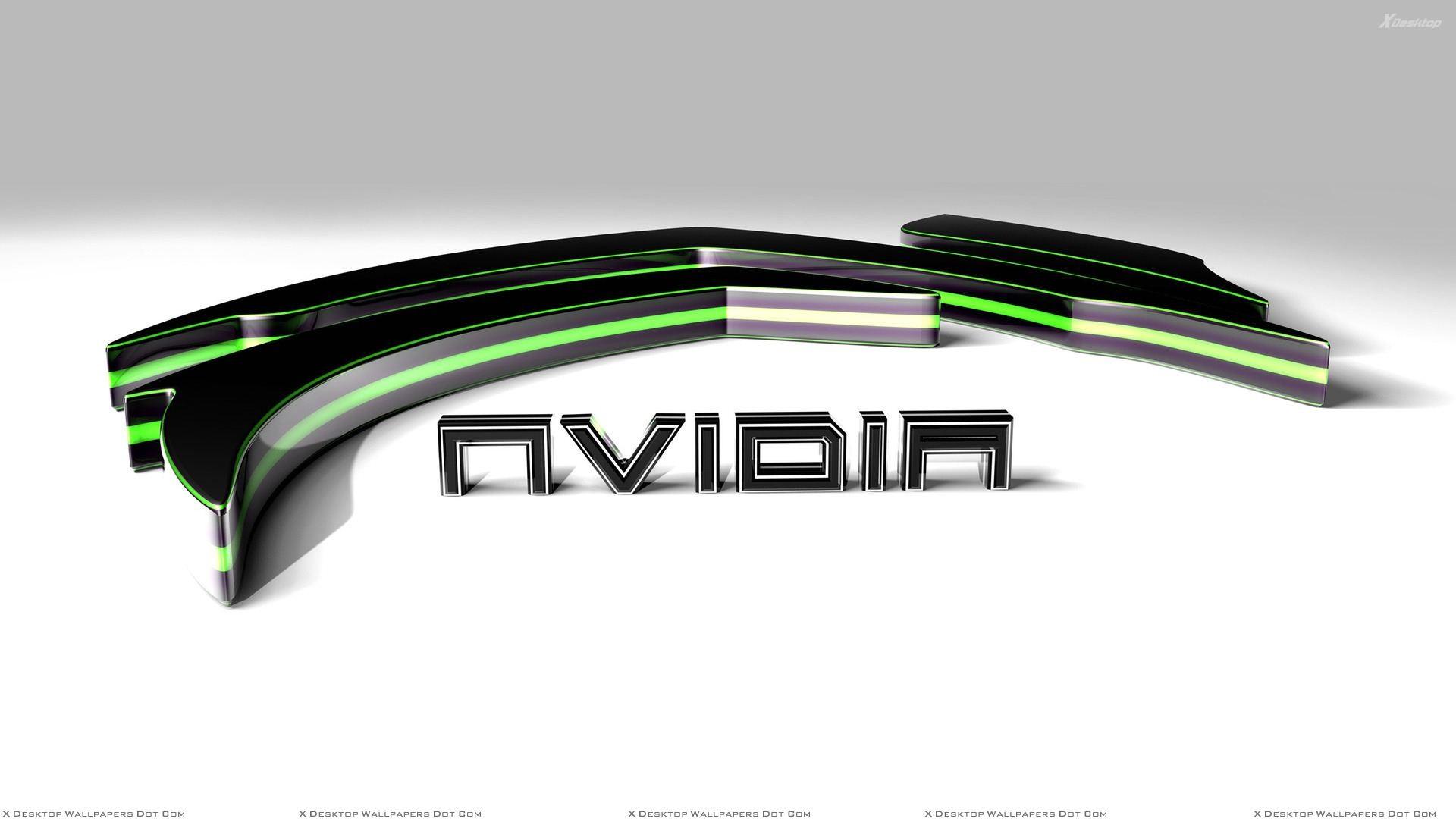 Green Nvidia 3d On White Background