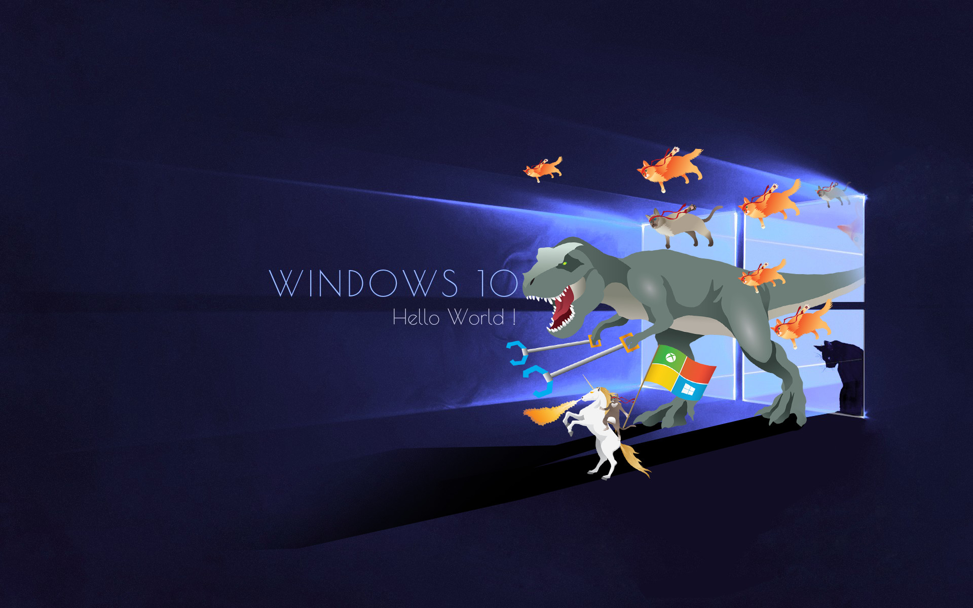 05. Windows unleashes the Ninja Cat and his steeds… Ninja Cat Steeds | 10  Cool Windows Ninja Cat Wallpaper