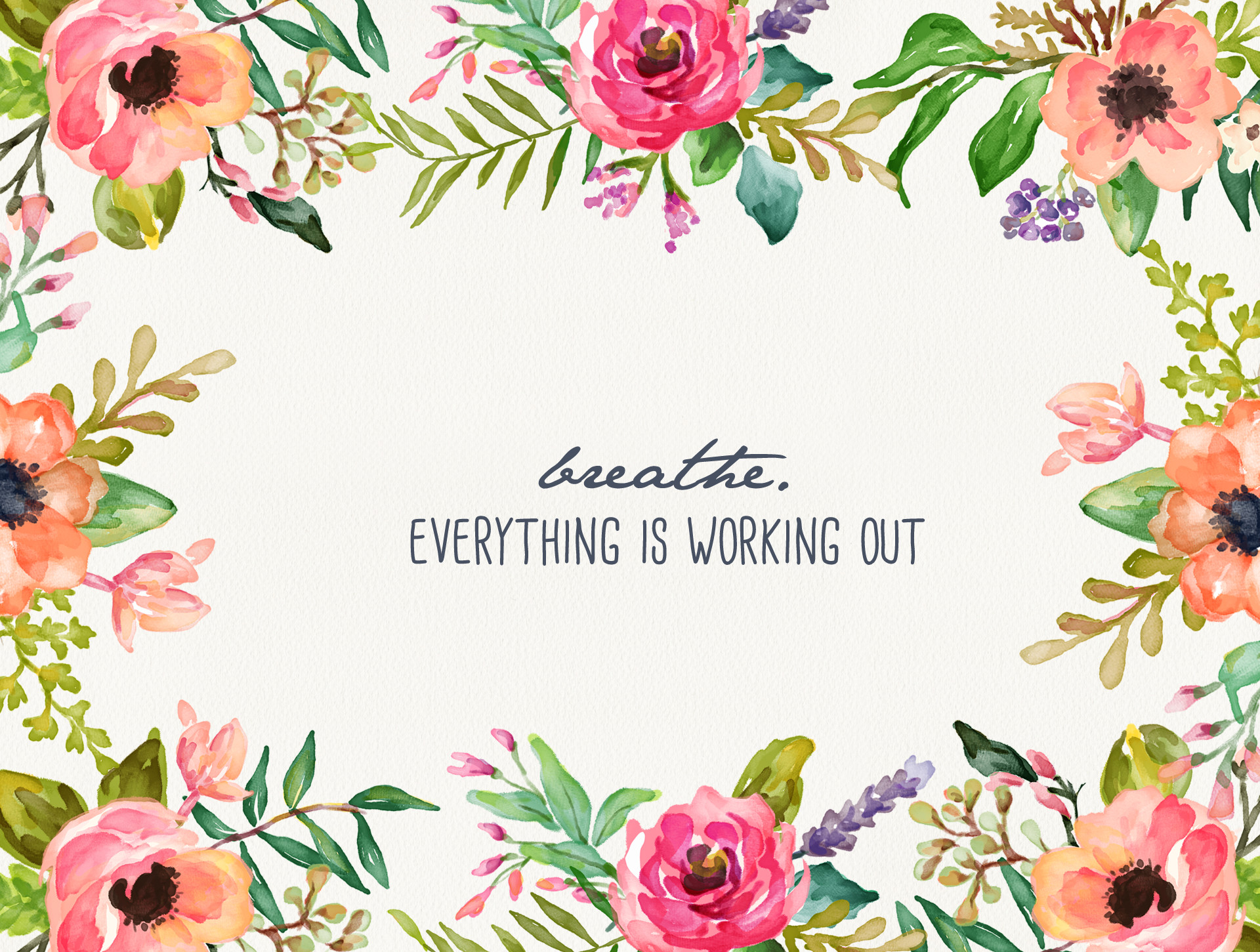 Breathe – Floral Desktop Wallpaper – Inspired by Beatrice Clay – Wallpaper  Zone