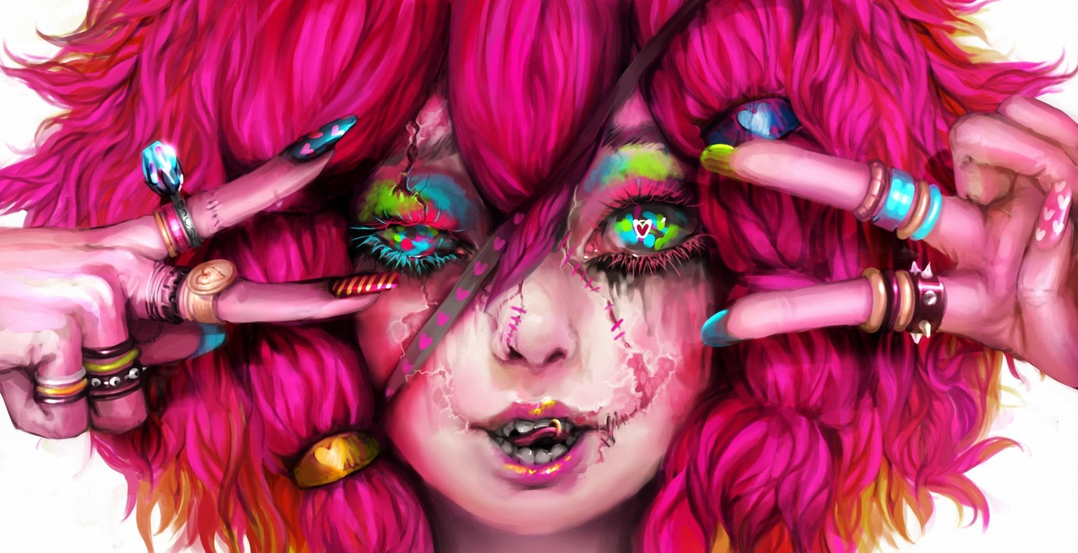 Pink Haired Wool Doll Devil Scars Colorful Eyes Genki-de