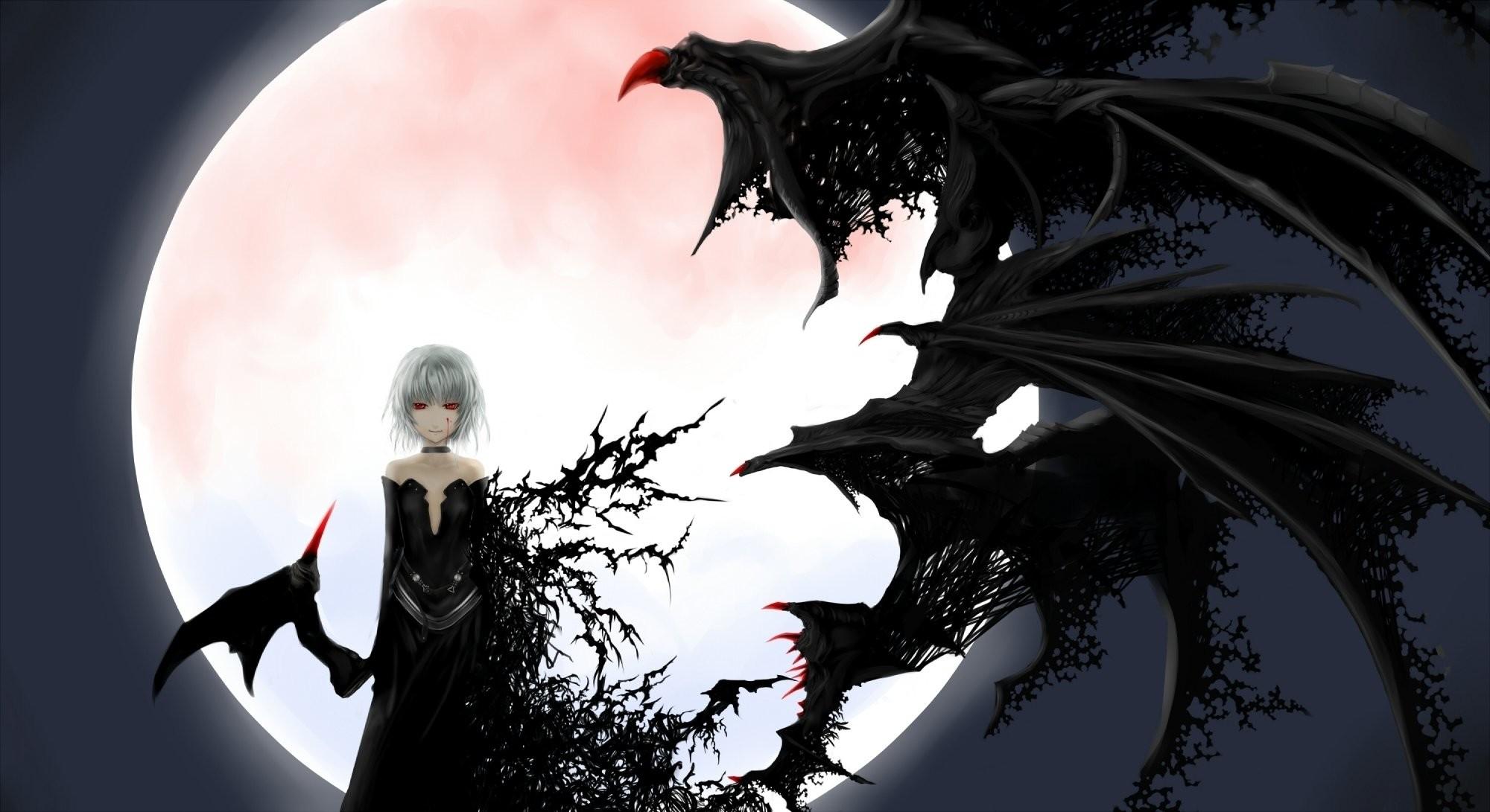Creepy anime girl albino wings moon background wallpaper | |  787756 | WallpaperUP