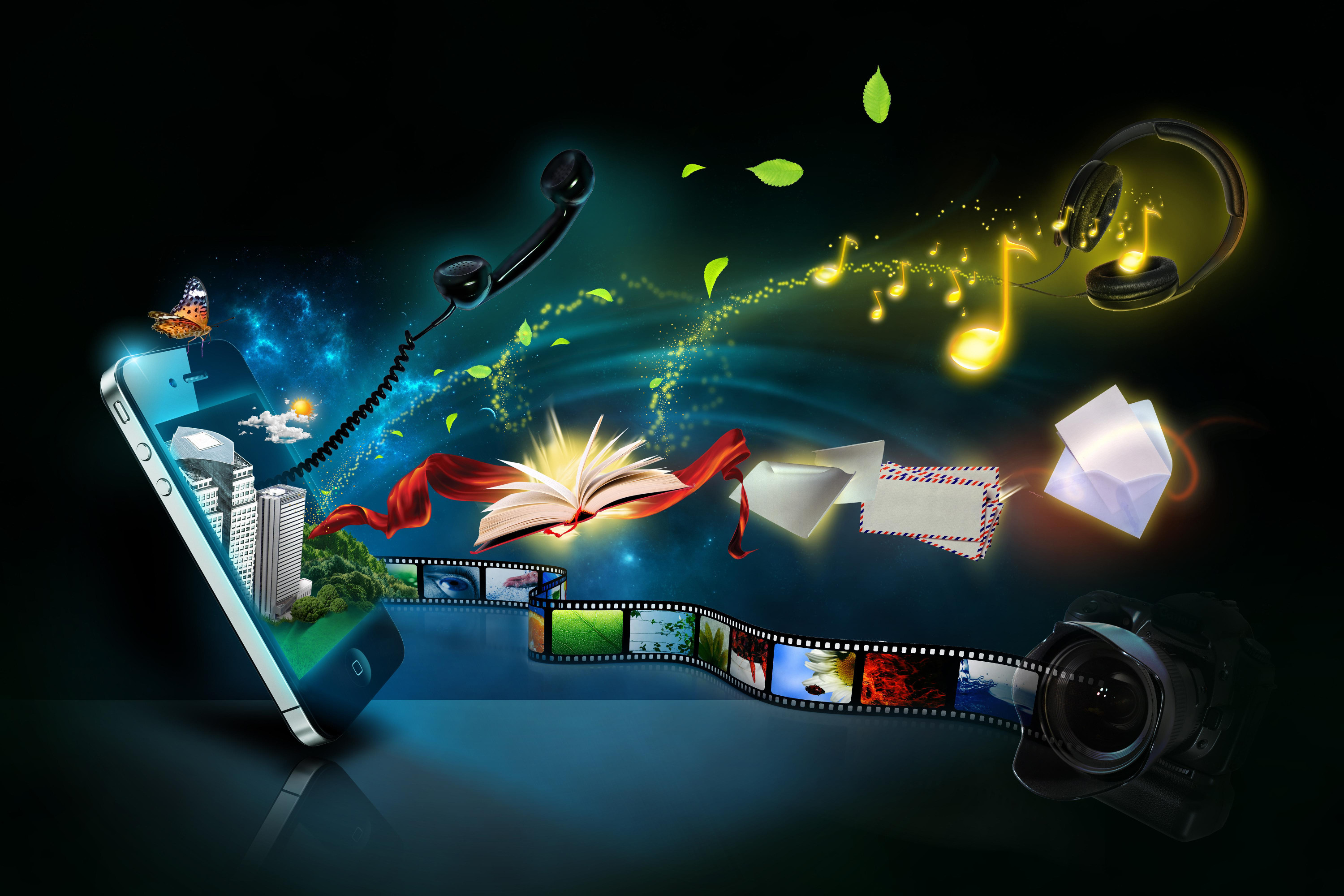 Technology – Artistic Tablet Phone Movie Book Camera Wallpaper