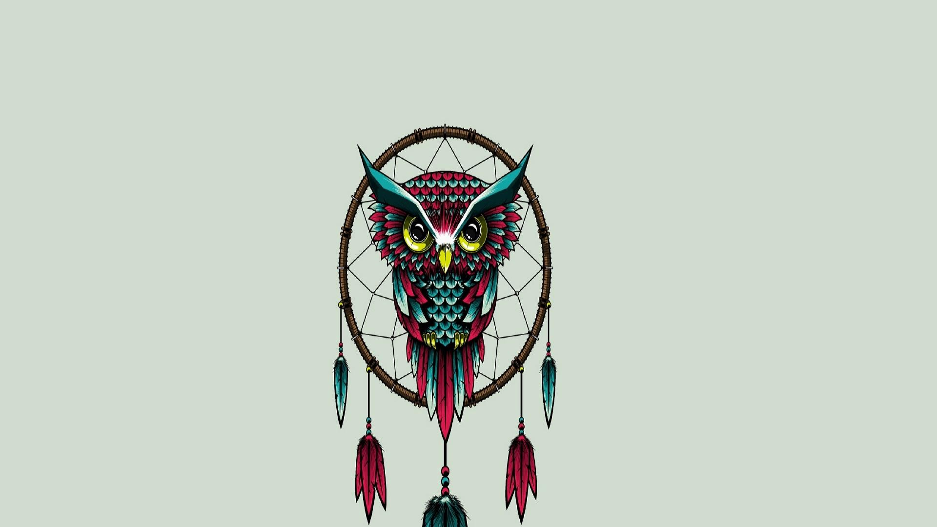 Owl-bird-dreamcatcher-art-wallpapers-hd