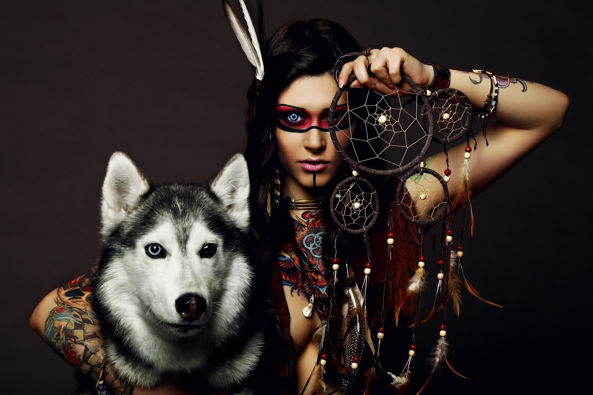 Women – Native American Husky Dog Dreamcatcher Wallpaper
