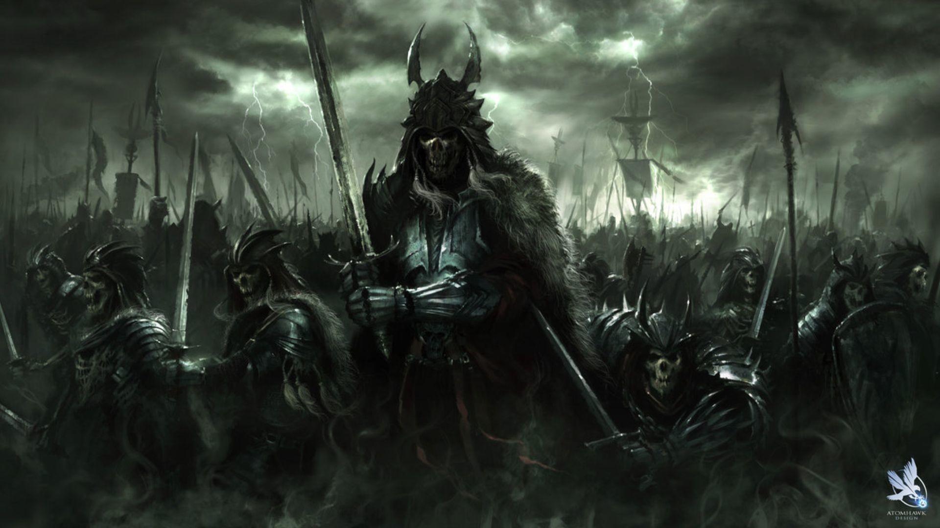dark art | fantasy art dark horror demon skull warrior wepons army wallpaper  .
