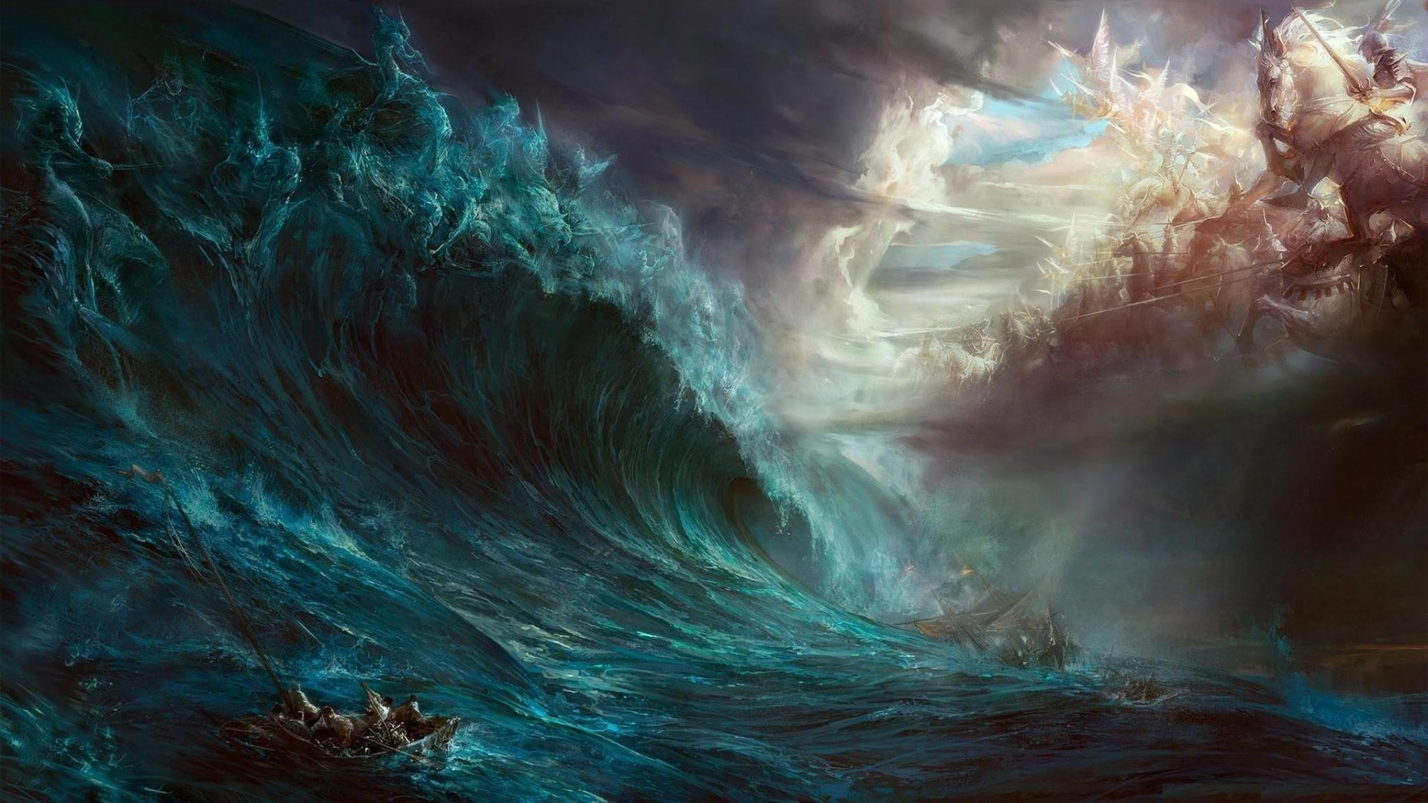 General fantasy art digital art artwork Cronus Zeus sea storm  ship war God Devil