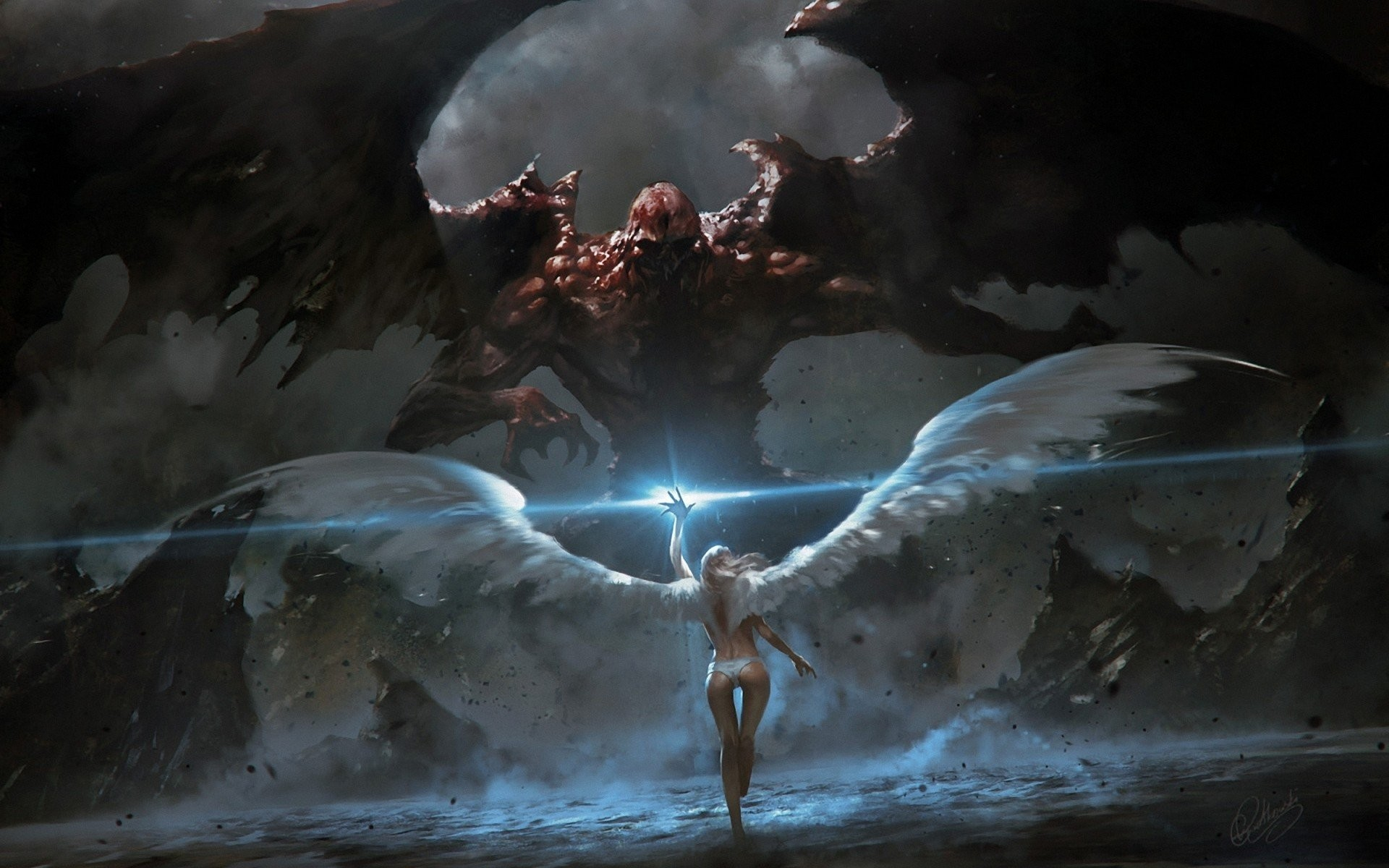 Angels fighting demons fantasy art angel wings demon wings wallpaper      286997   WallpaperUP
