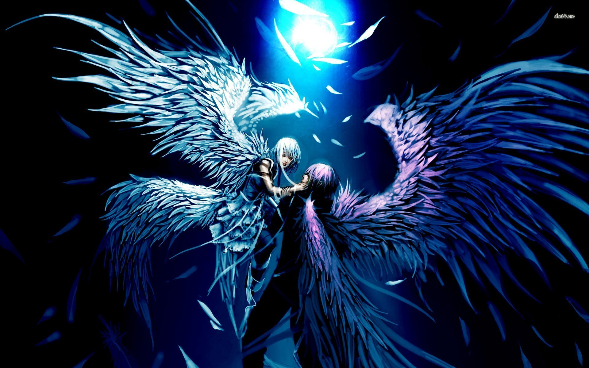Angel And Demon Lovers Anime Desktop Background   HD .