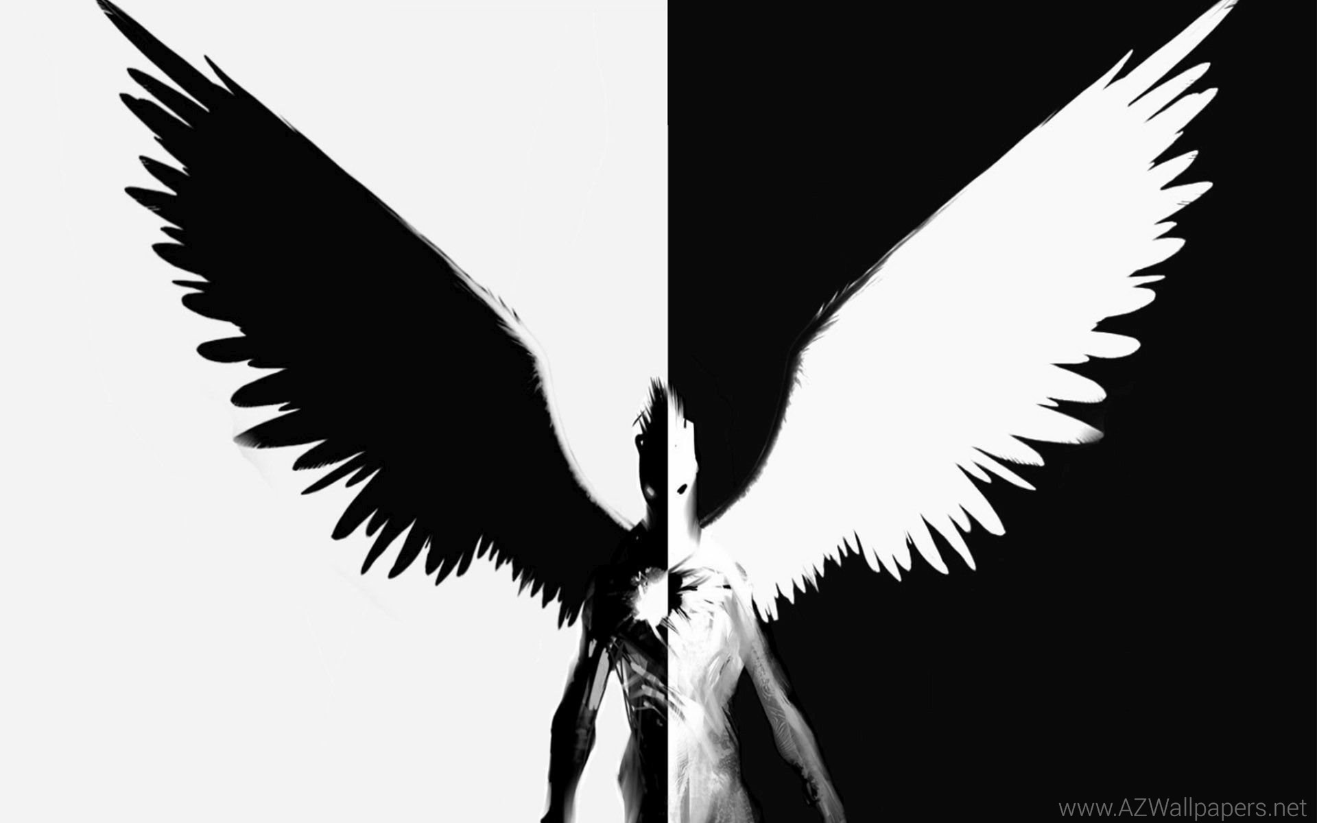 Ангел или демон картинки черно белые