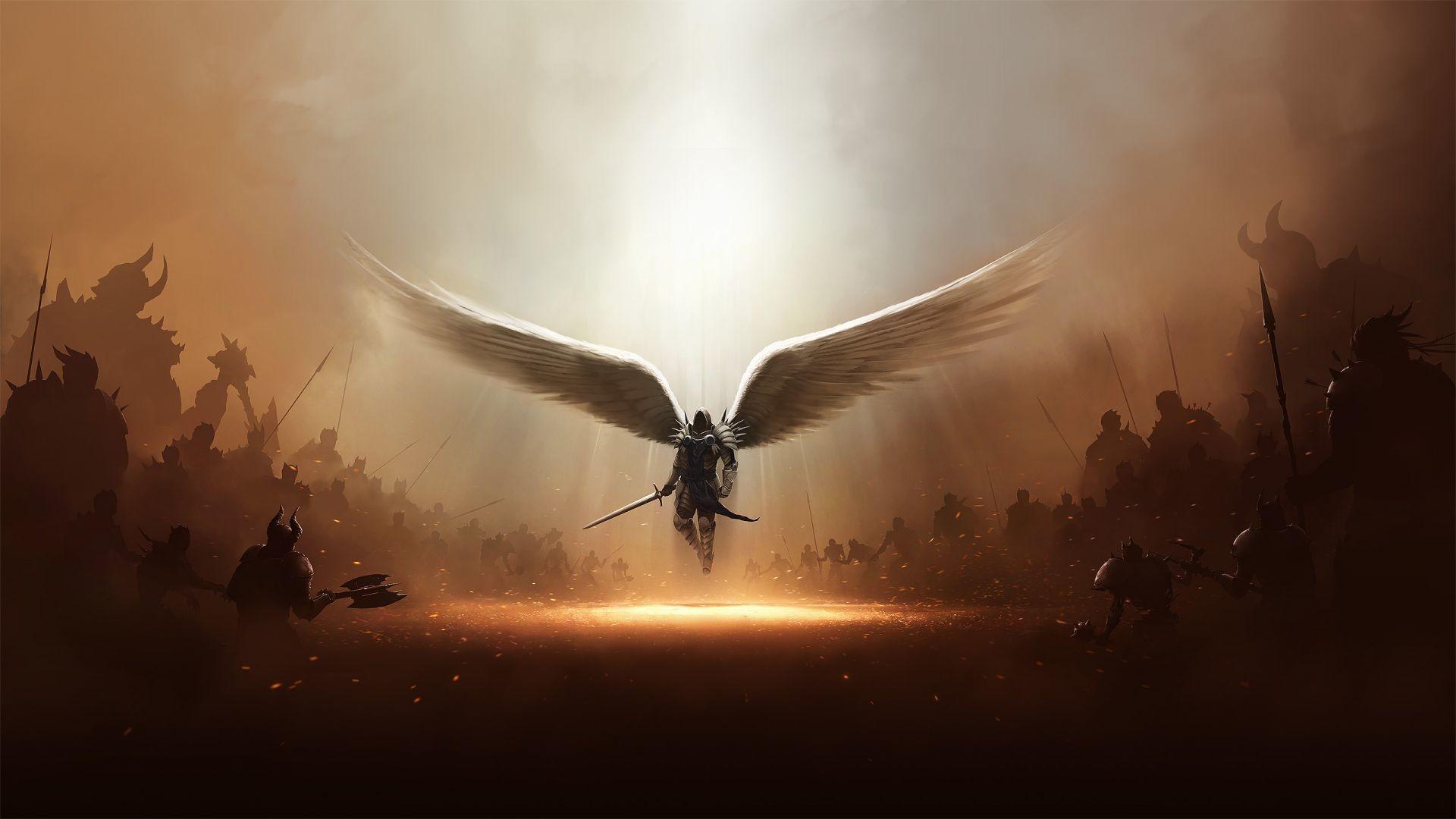 Tyrael Alone War Fighting Angel Demons Hell Heaven Diablo Game