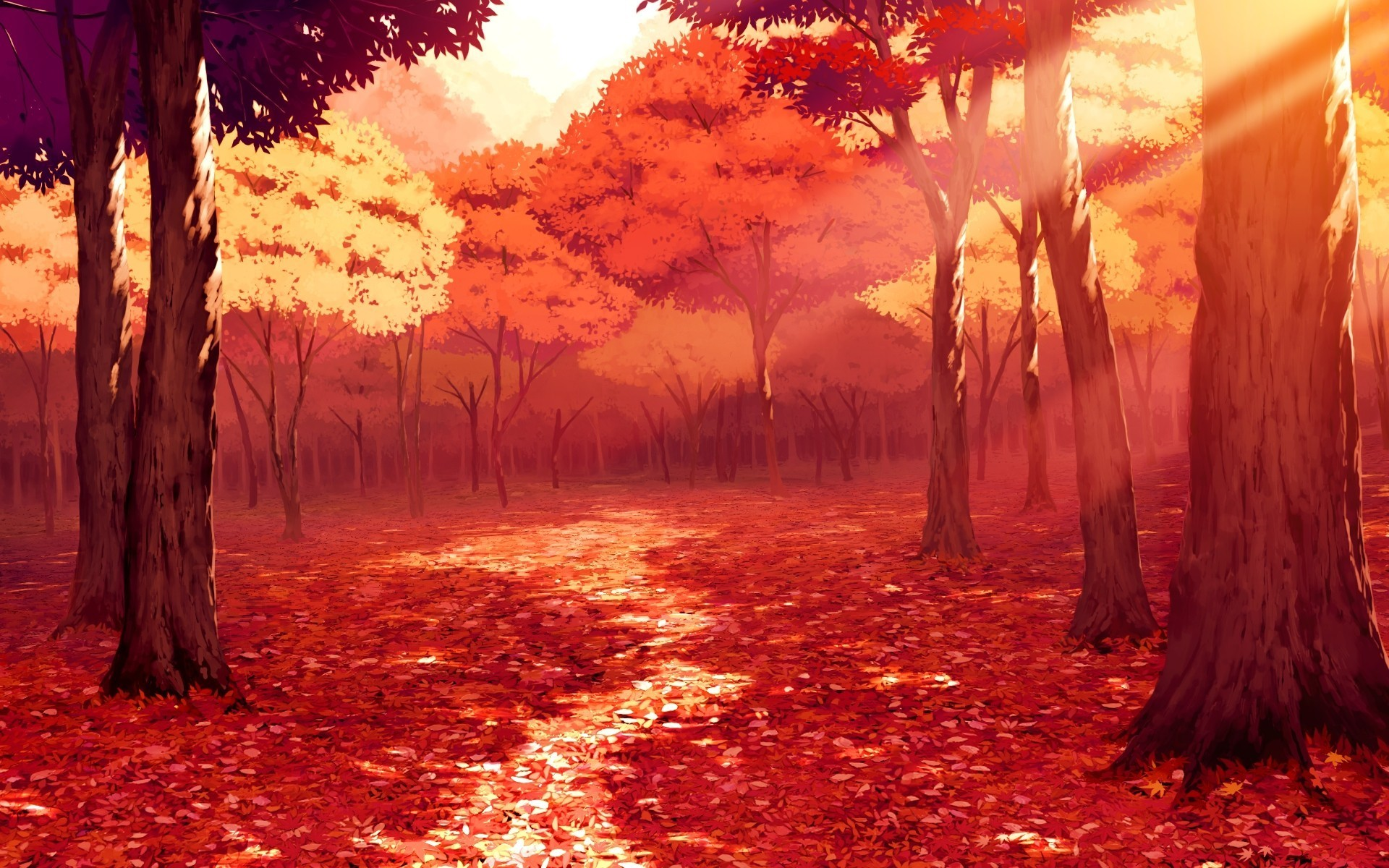 Animated Scenery Autumn Red Trees