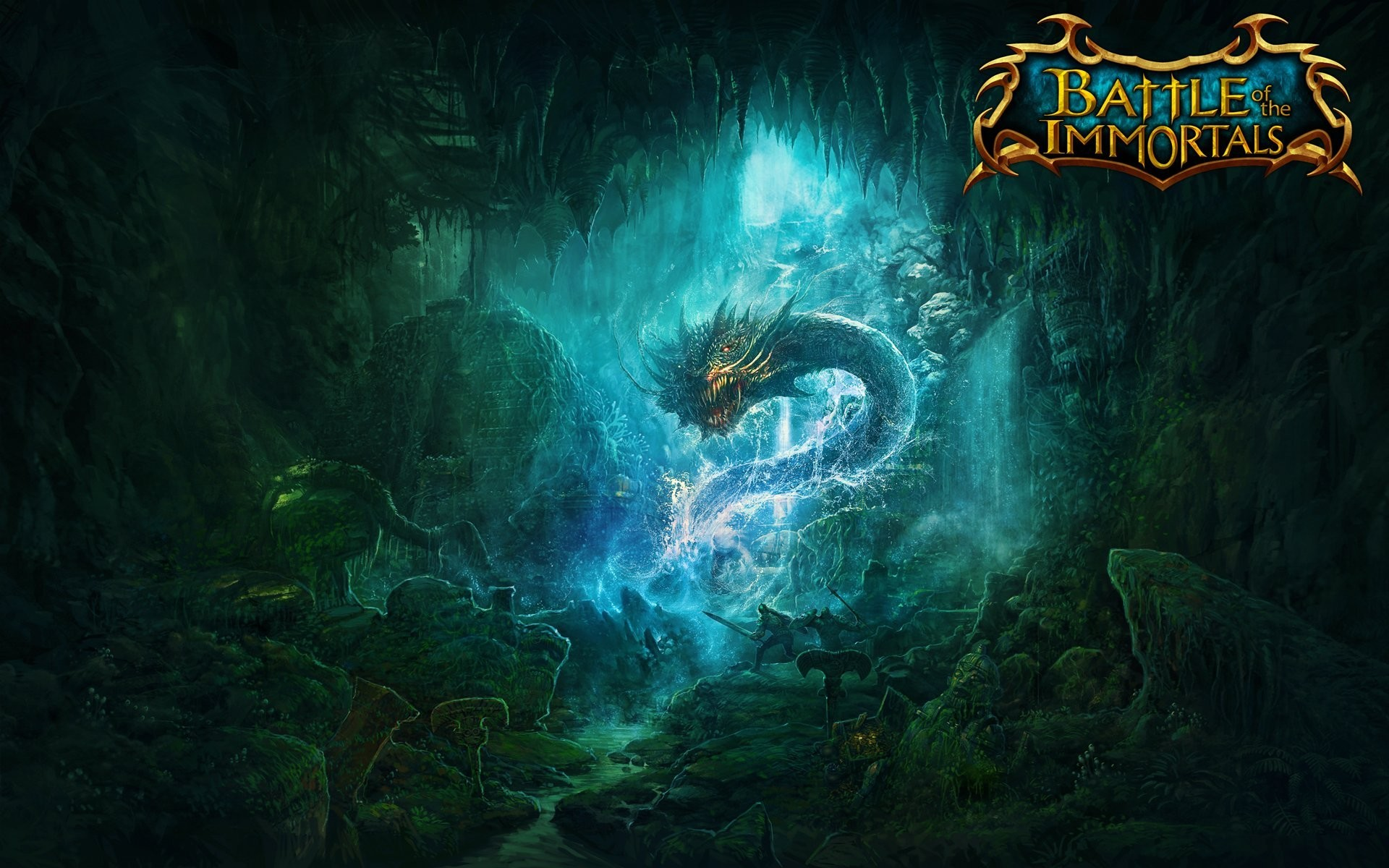 battle of the immortals game wallpapers battle immortal cave knights dragon  skeletons .boy swords
