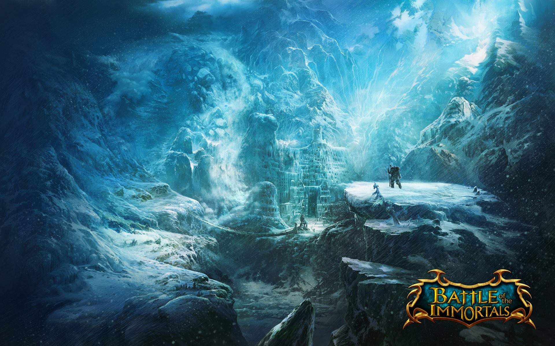 battle of the immortals game wallpapers battle immortal mountain castle  valley snow wanderer