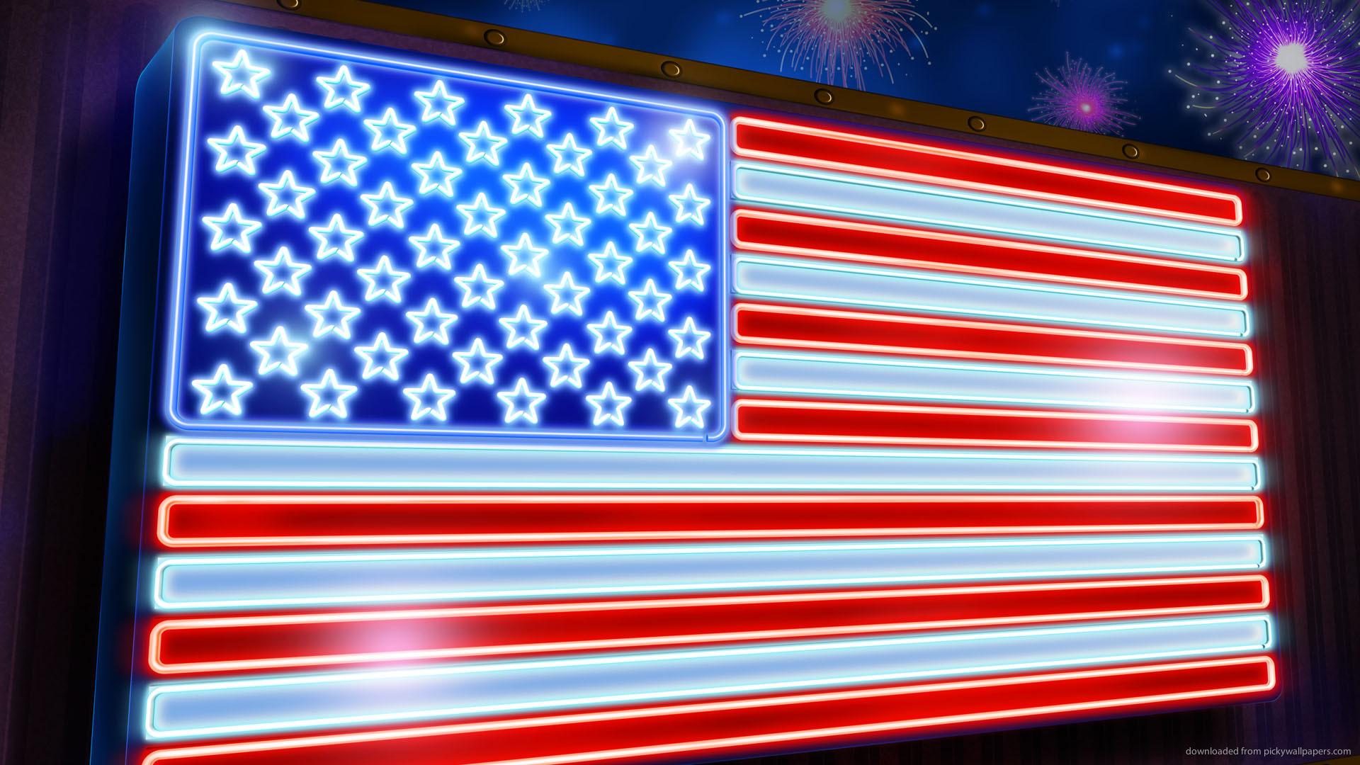 HD Neon USA flag wallpaper