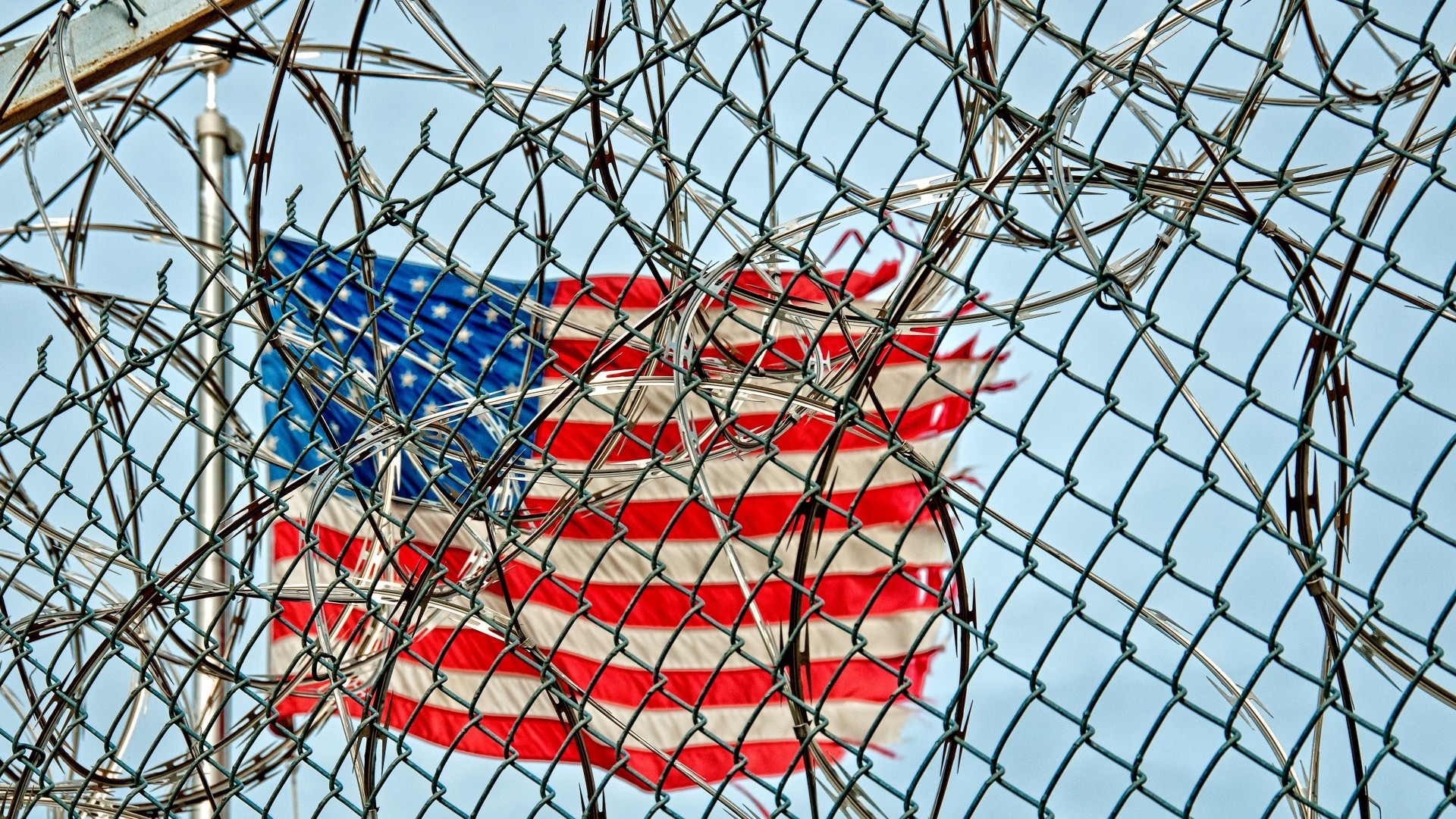 Preview wallpaper flag, united states, barbed wire 1920×1080