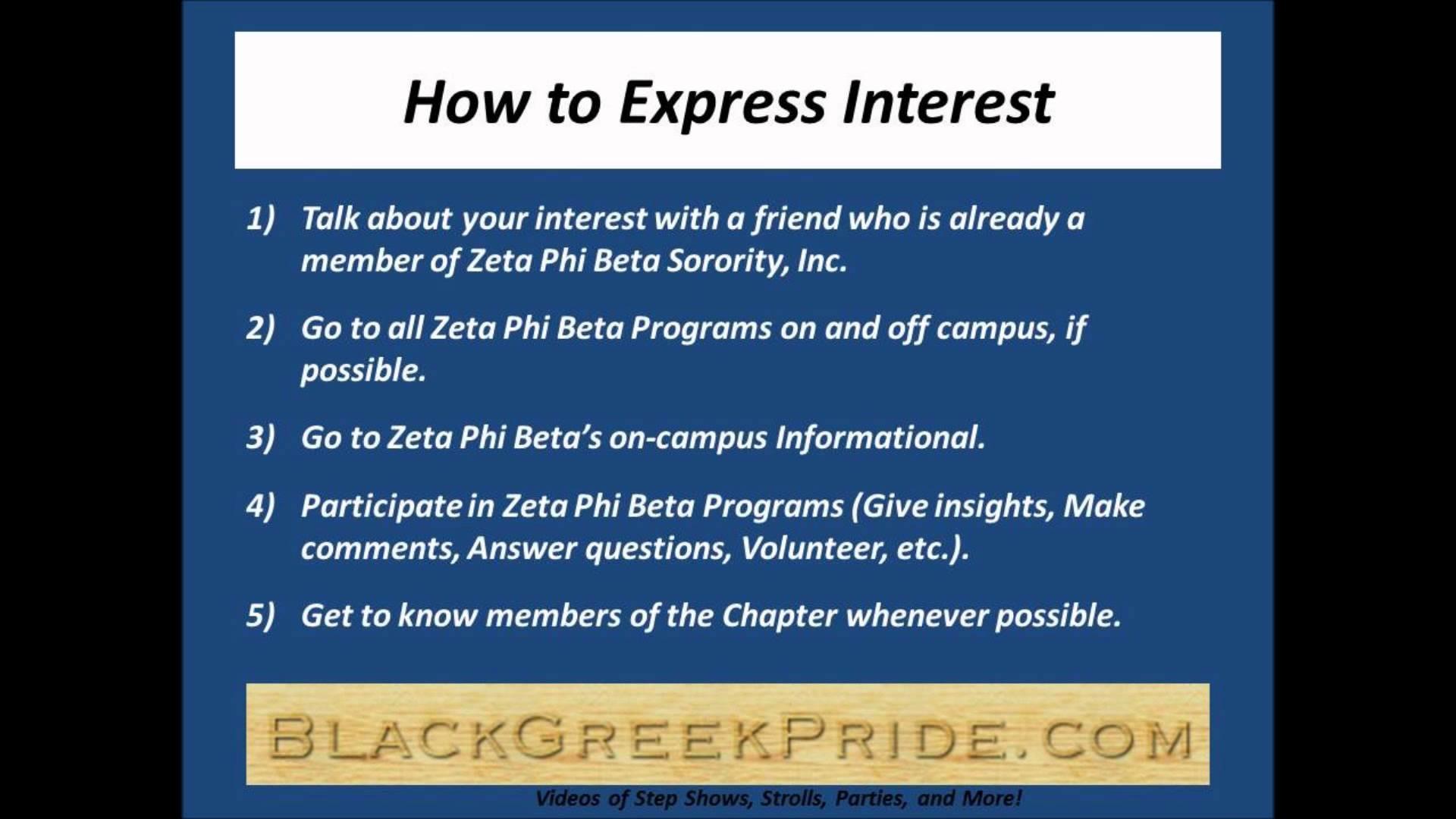 How to Express Interest in Zeta Phi Beta