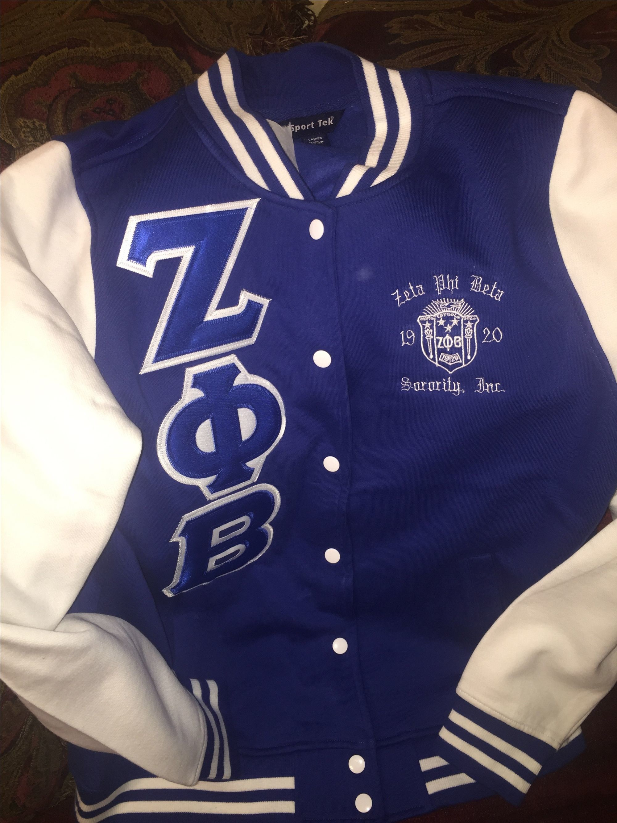 Royal Zeta Phi Beta Letterman Jacket with Embroidered Zeta Crest •  GreekExpressions Embroidery Specialis… • Tictail
